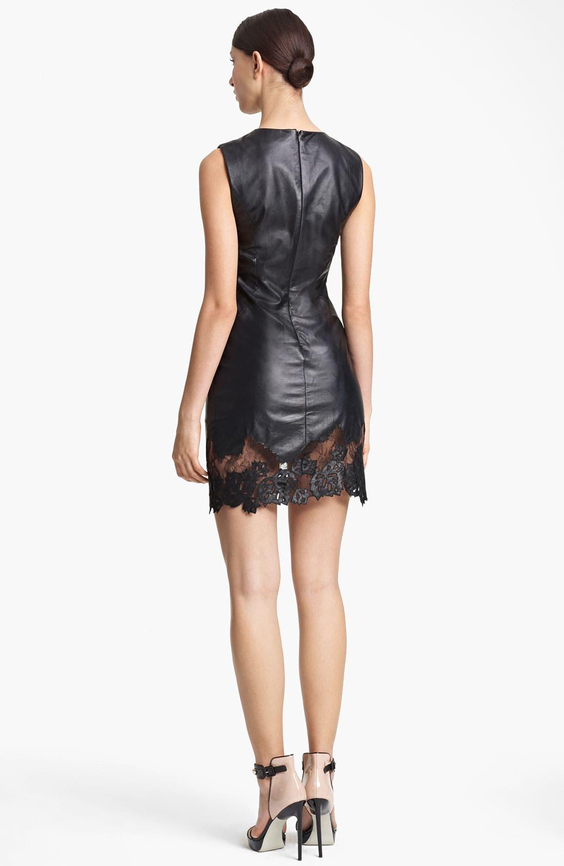 Alternate Image 2  - Jason Wu Lambskin Leather & Lace Sheath Dress