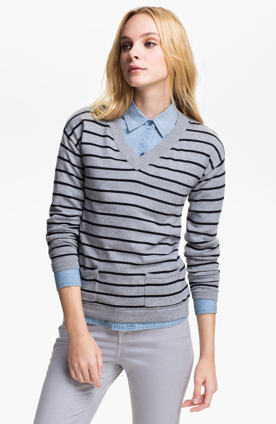 Alternate Image 1 Selected - Two by Vince Camuto Stripe V-Neck Sweater