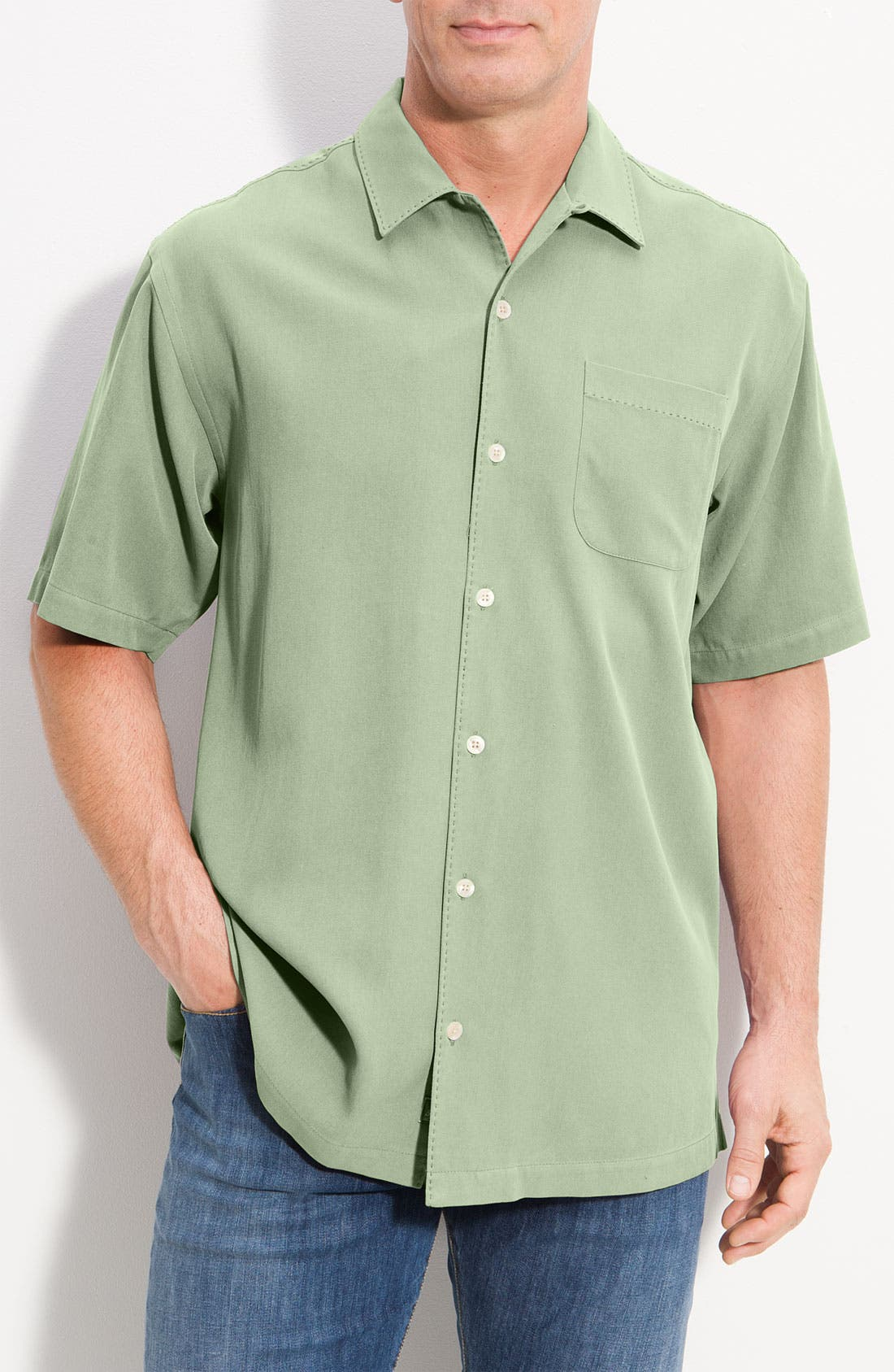 Main Image - Tommy Bahama 'Catalina Twill' Silk Camp Shirt (Big & Tall)