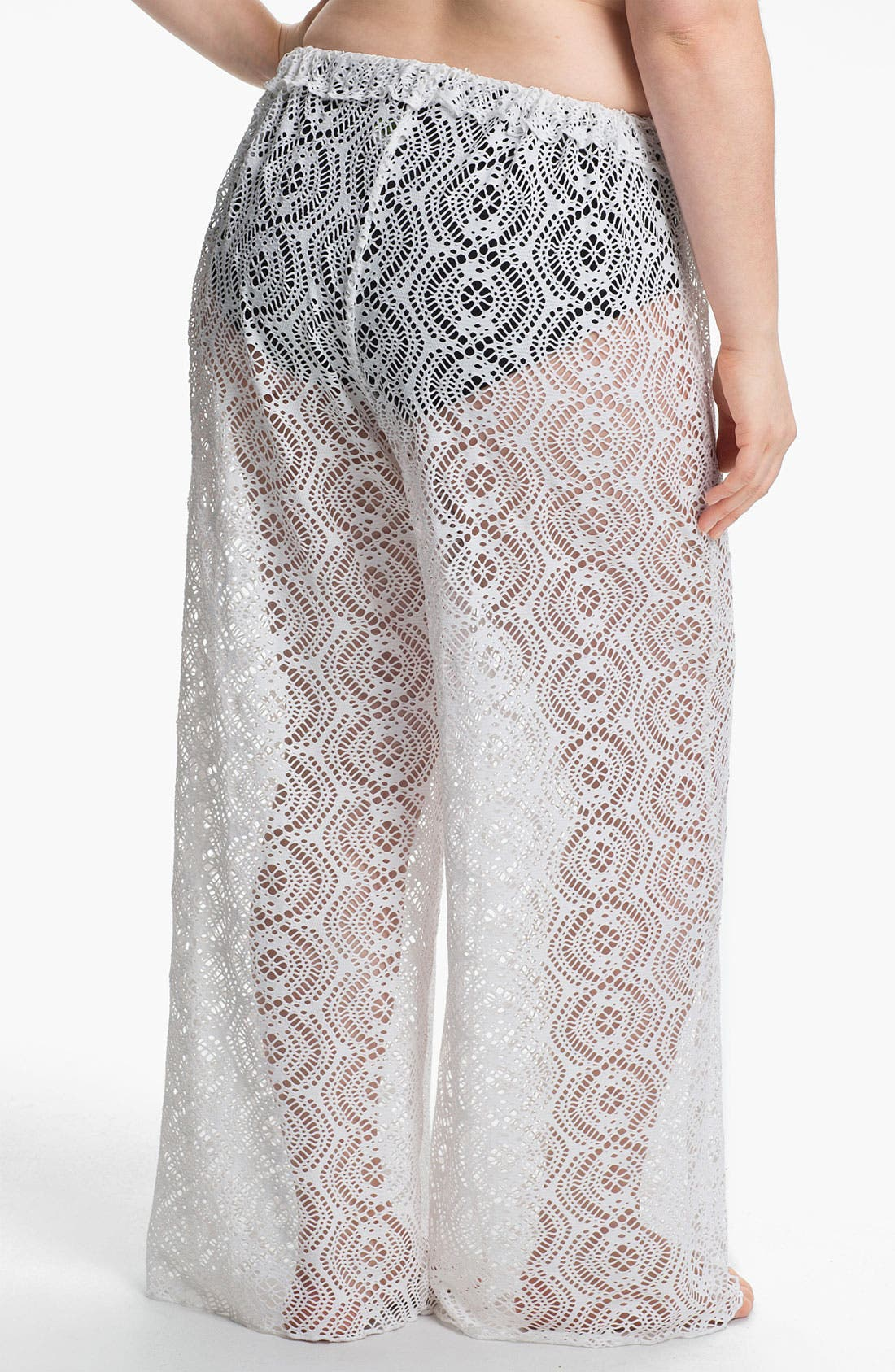 Alternate Image 2  - Becca Etc. 'Marbella' Crochet Cover-Up Pants (Plus Size)