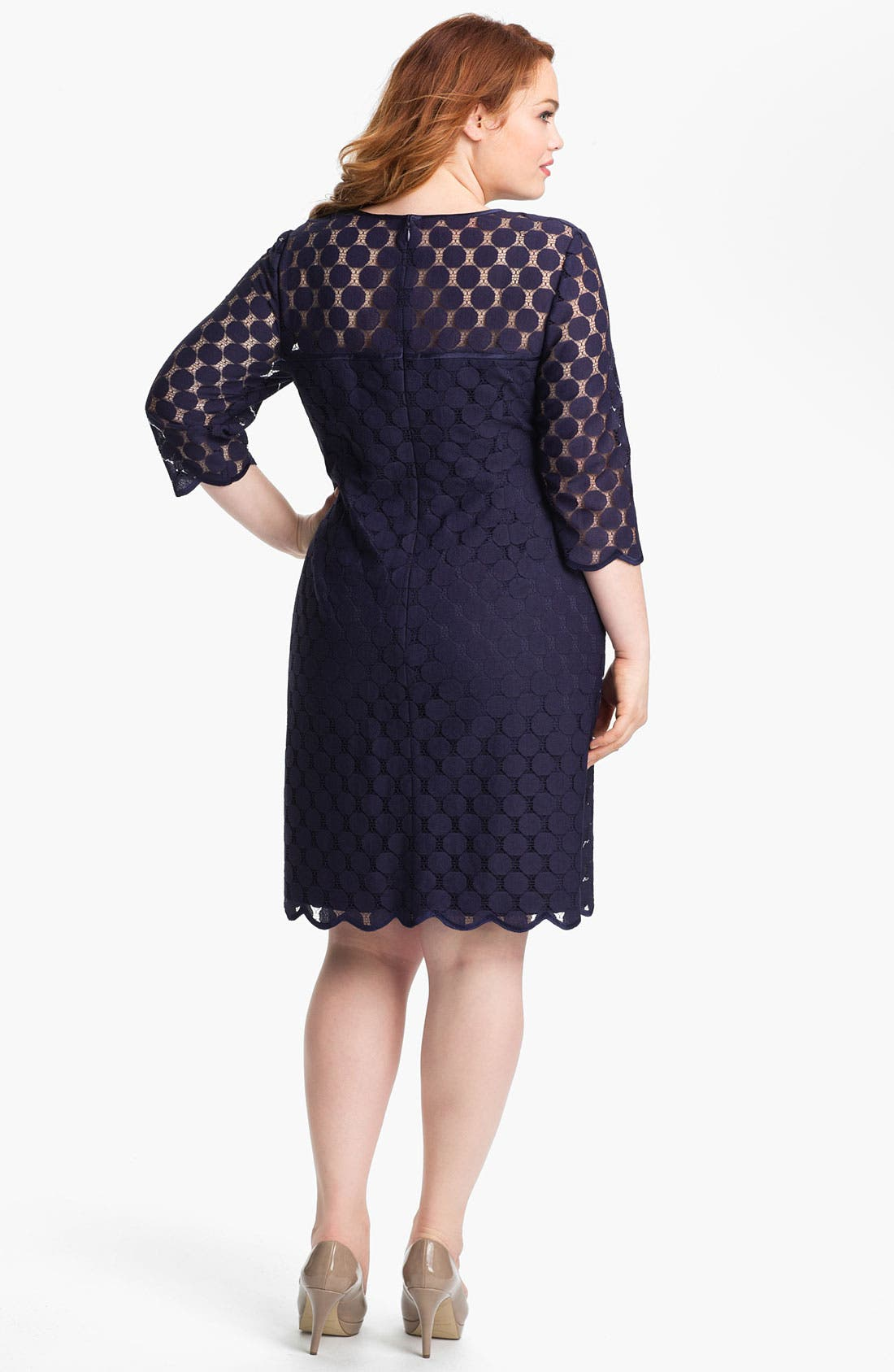 Alternate Image 2  - Adrianna Papell Polka Dot Lace Dress (Plus Size)