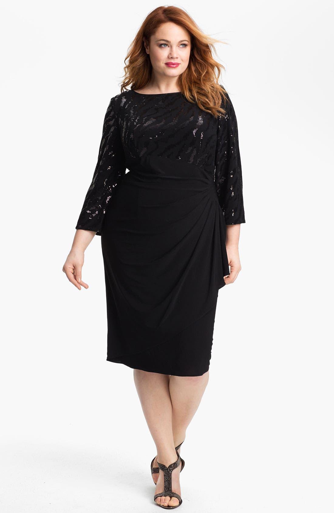 Alternate Image 1 Selected - Alex Evenings Embellished Ruched Jersey Dress (Plus)