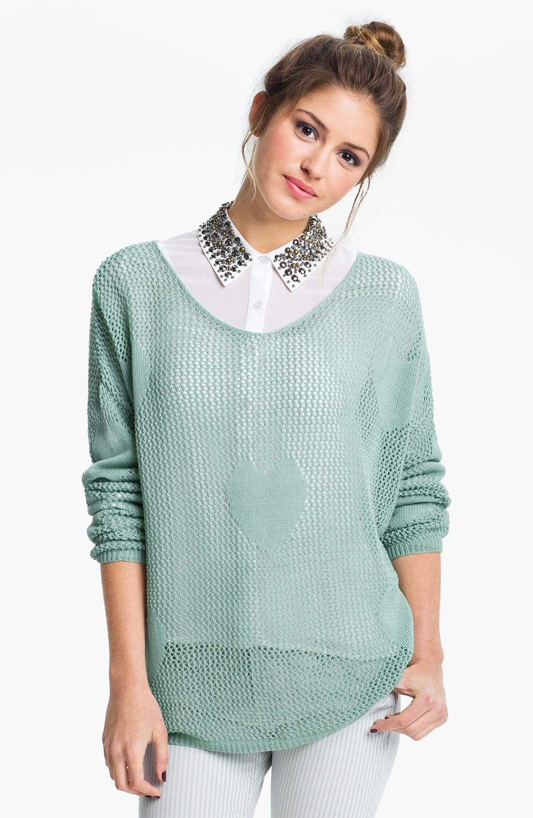 Main Image - Double Zero Heart Knit Sheer Sweater (Juniors)