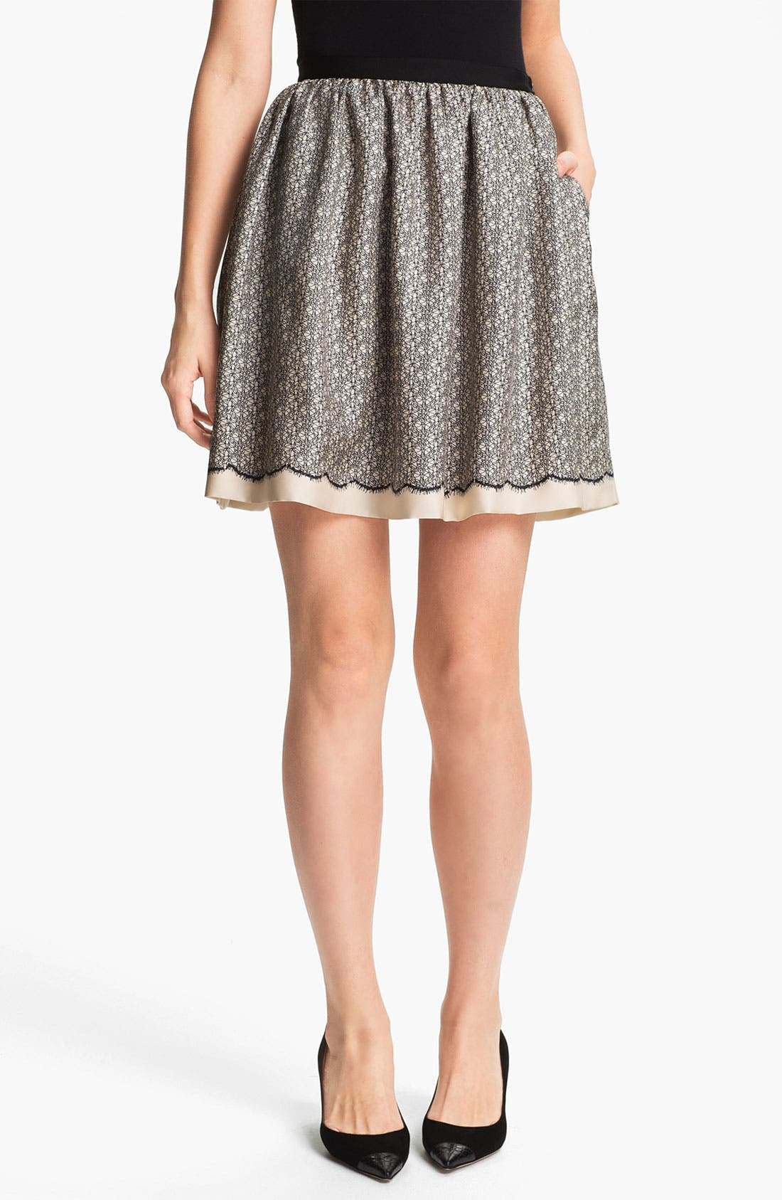 Main Image - Miss Wu Lace Print Silk Twill Skirt (Nordstrom Exclusive)