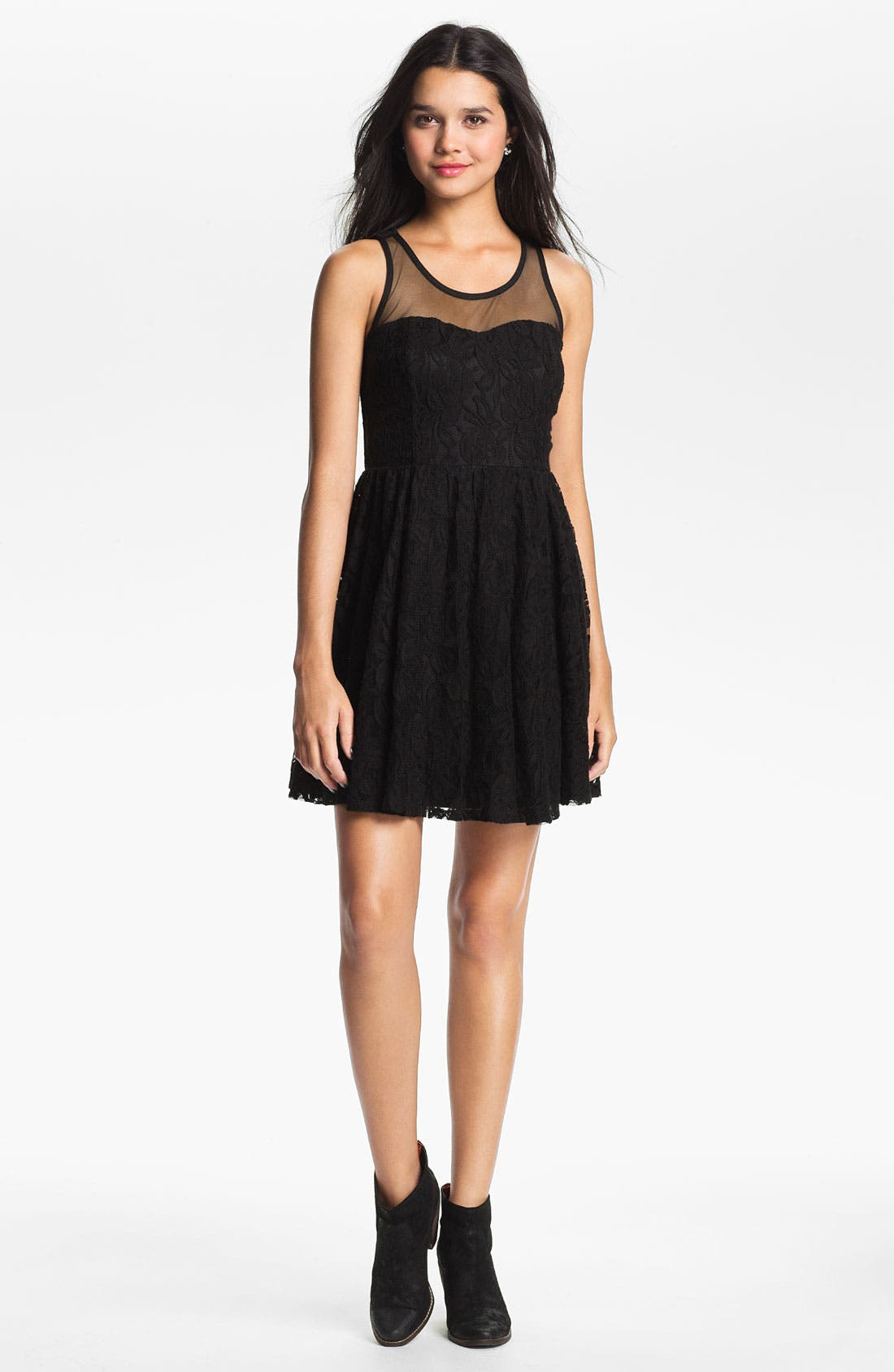 Alternate Image 1 Selected - Fire Lace Skater Dress (Juniors)