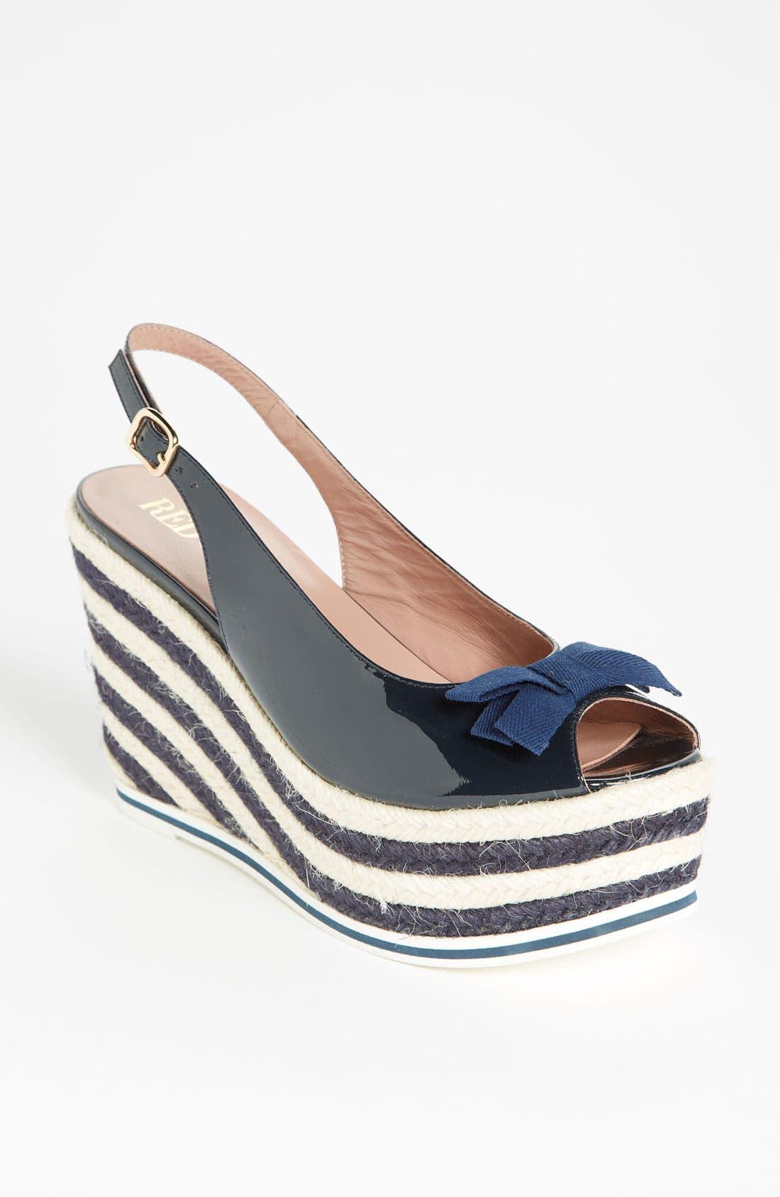Alternate Image 1 Selected - RED Valentino Stripe Wedge Sandal