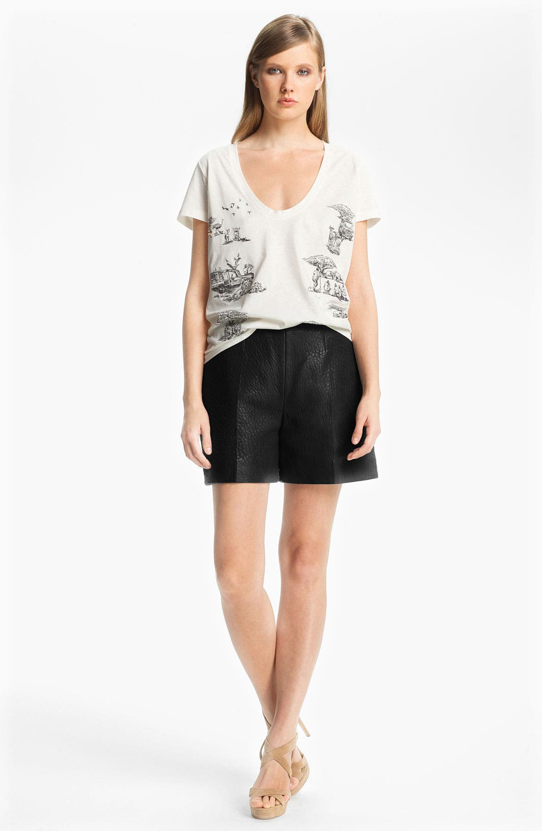 Alternate Image 1 Selected - Carven Embroidered Safari Print Top