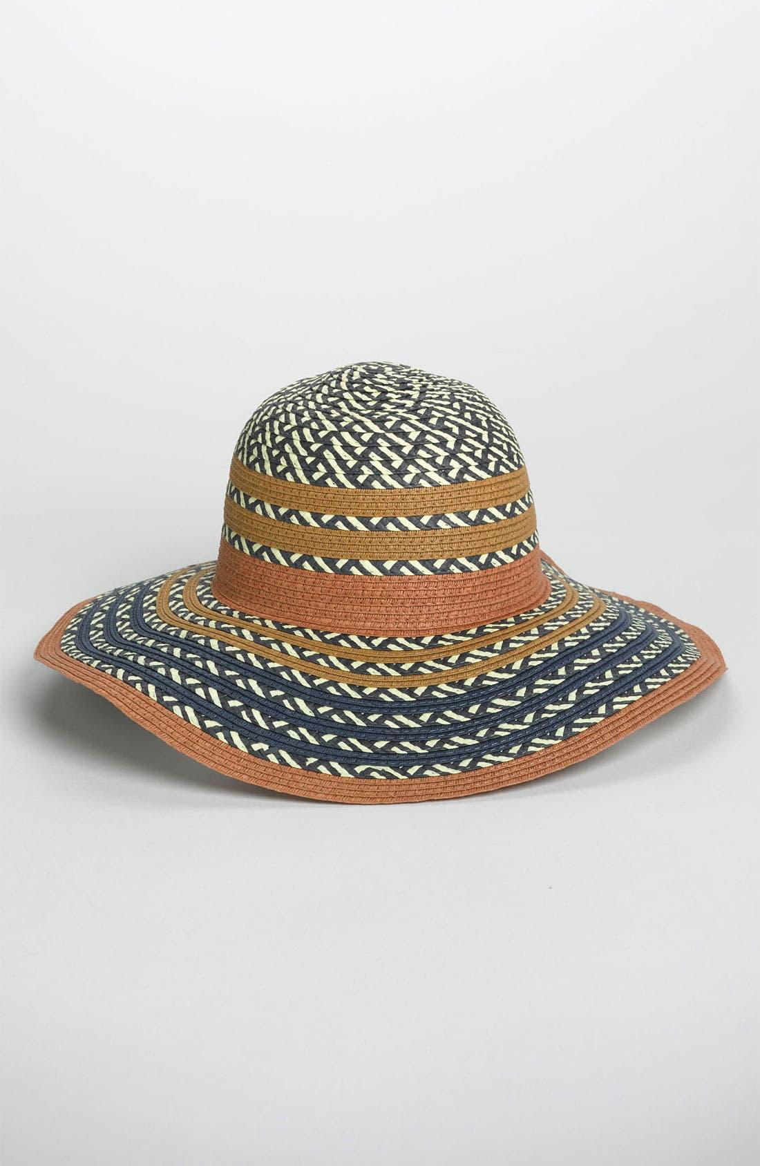 Main Image - BCBGeneration Pop Stripe Floppy Sun Hat