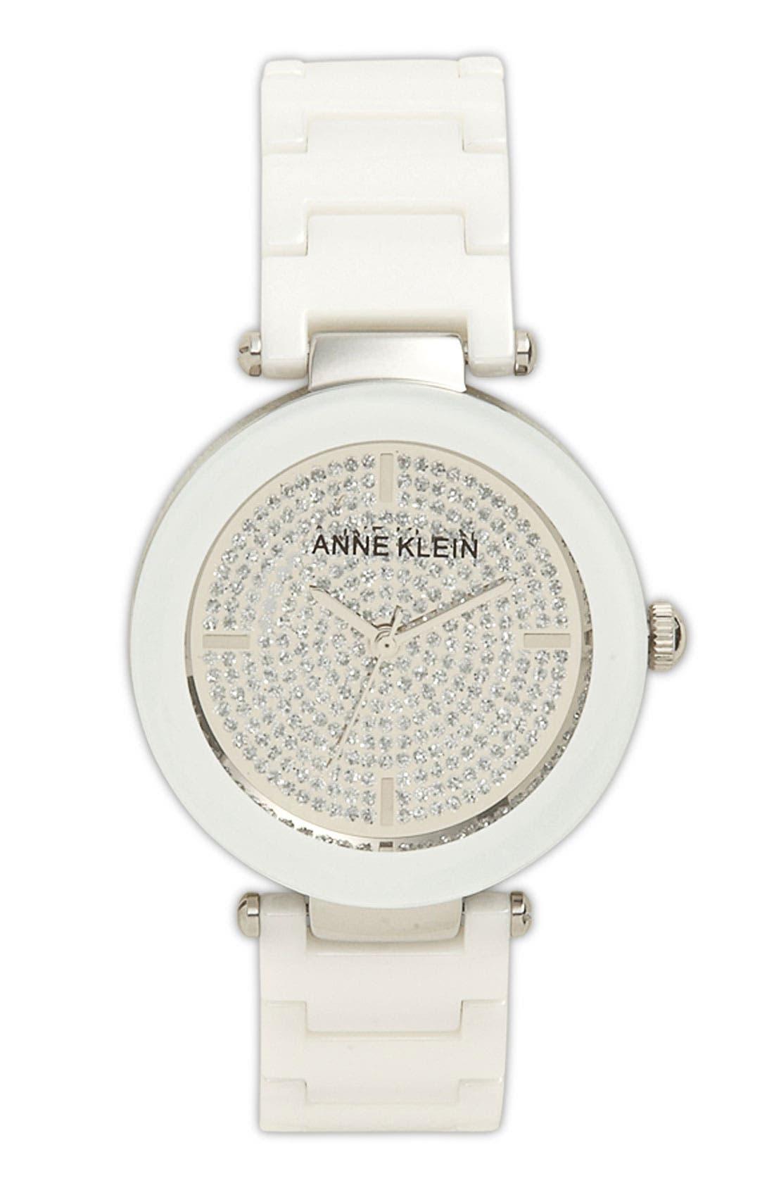Alternate Image 1 Selected - Anne Klein Pavé Dial Ceramic Bracelet Watch