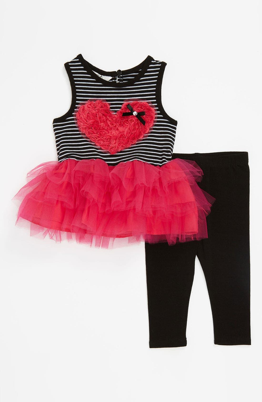 Alternate Image 1 Selected - Pippa & Julie Soutache Heart Top & Leggings (Infant)