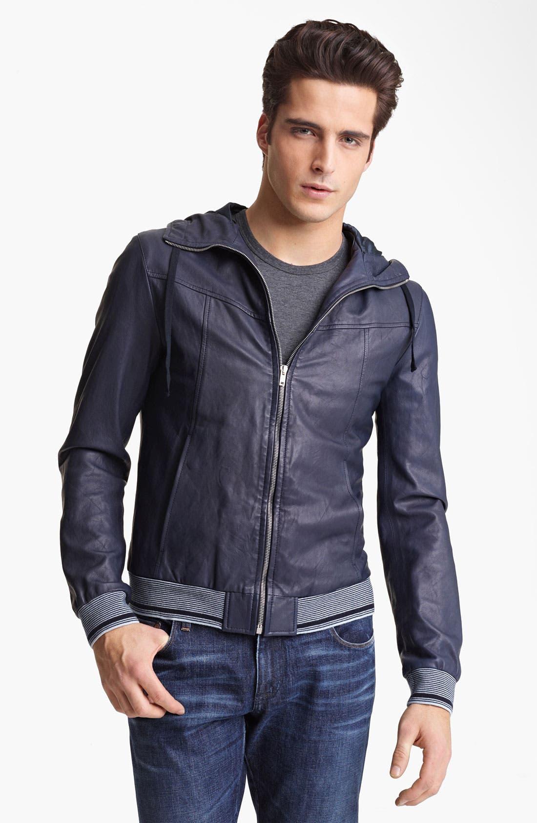 Alternate Image 1 Selected - Dolce&Gabbana Hooded Leather Jacket
