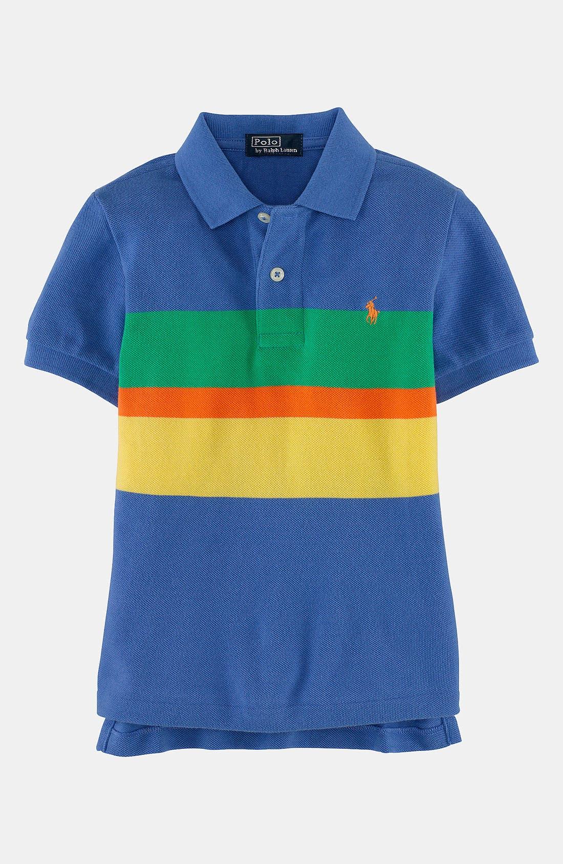 Alternate Image 1 Selected - Ralph Lauren Stripe Polo (Toddler)