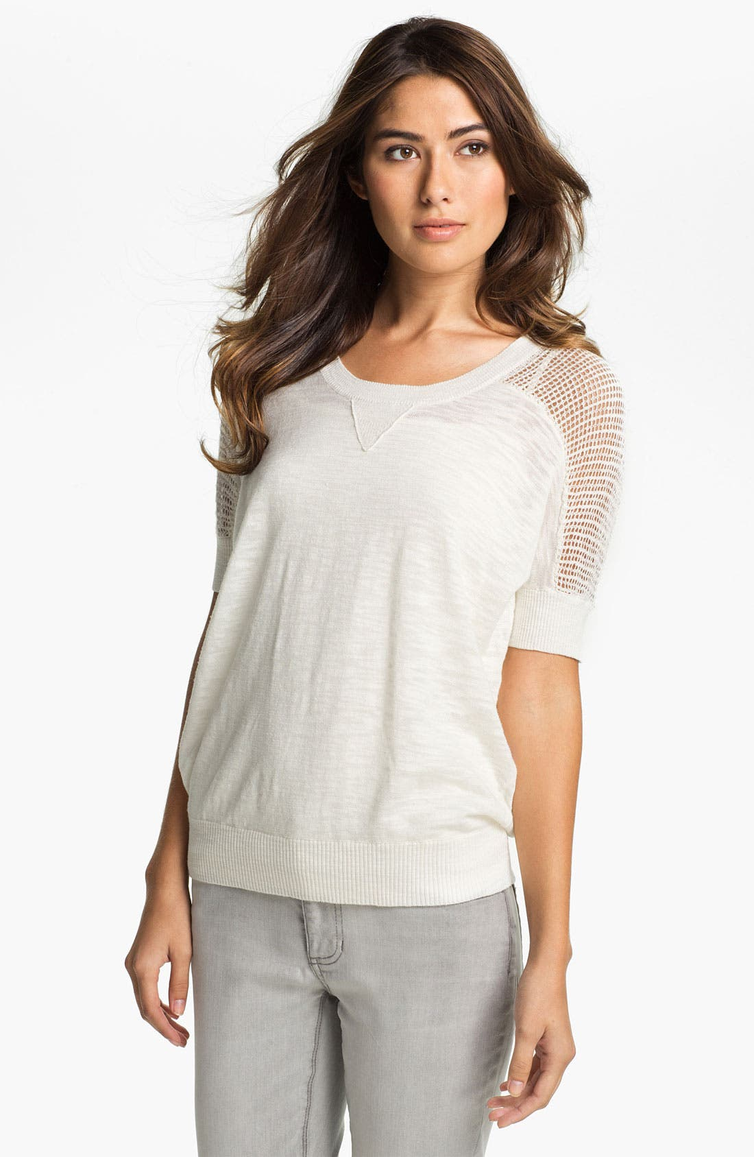 Alternate Image 1 Selected - Two by Vince Camuto Jersey & Open Stitch Sweater