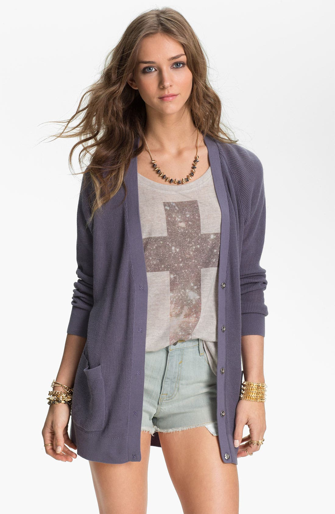 Alternate Image 1 Selected - Rubbish® Boyfriend Cardigan (Juniors)