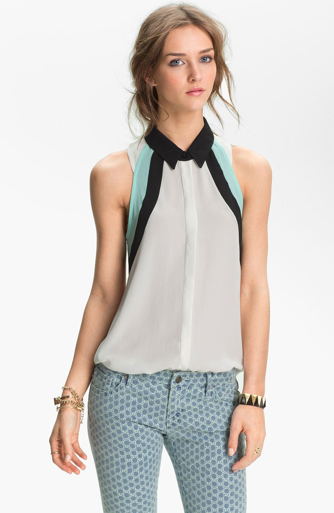Alternate Image 1 Selected - Lush Colorblock Sleeveless Chiffon Shirt (Juniors)