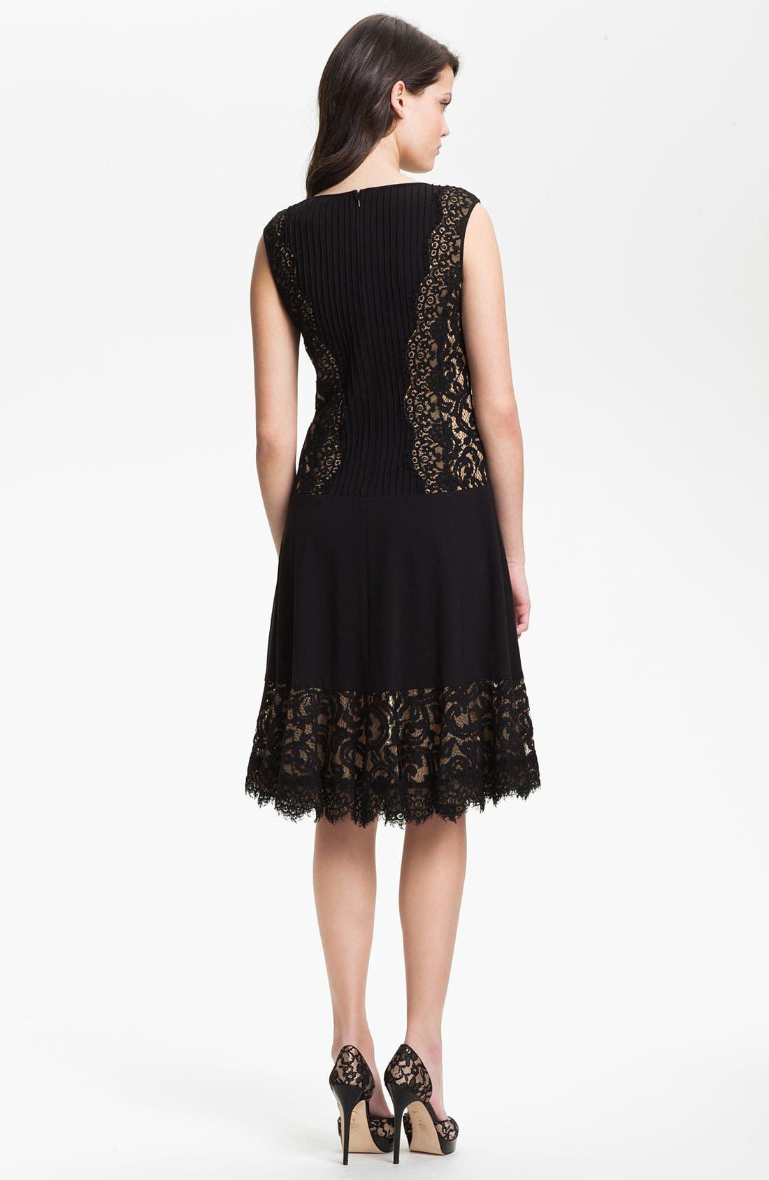 Alternate Image 2  - Tadashi Shoji Lace Paneled Drop Waist Dress