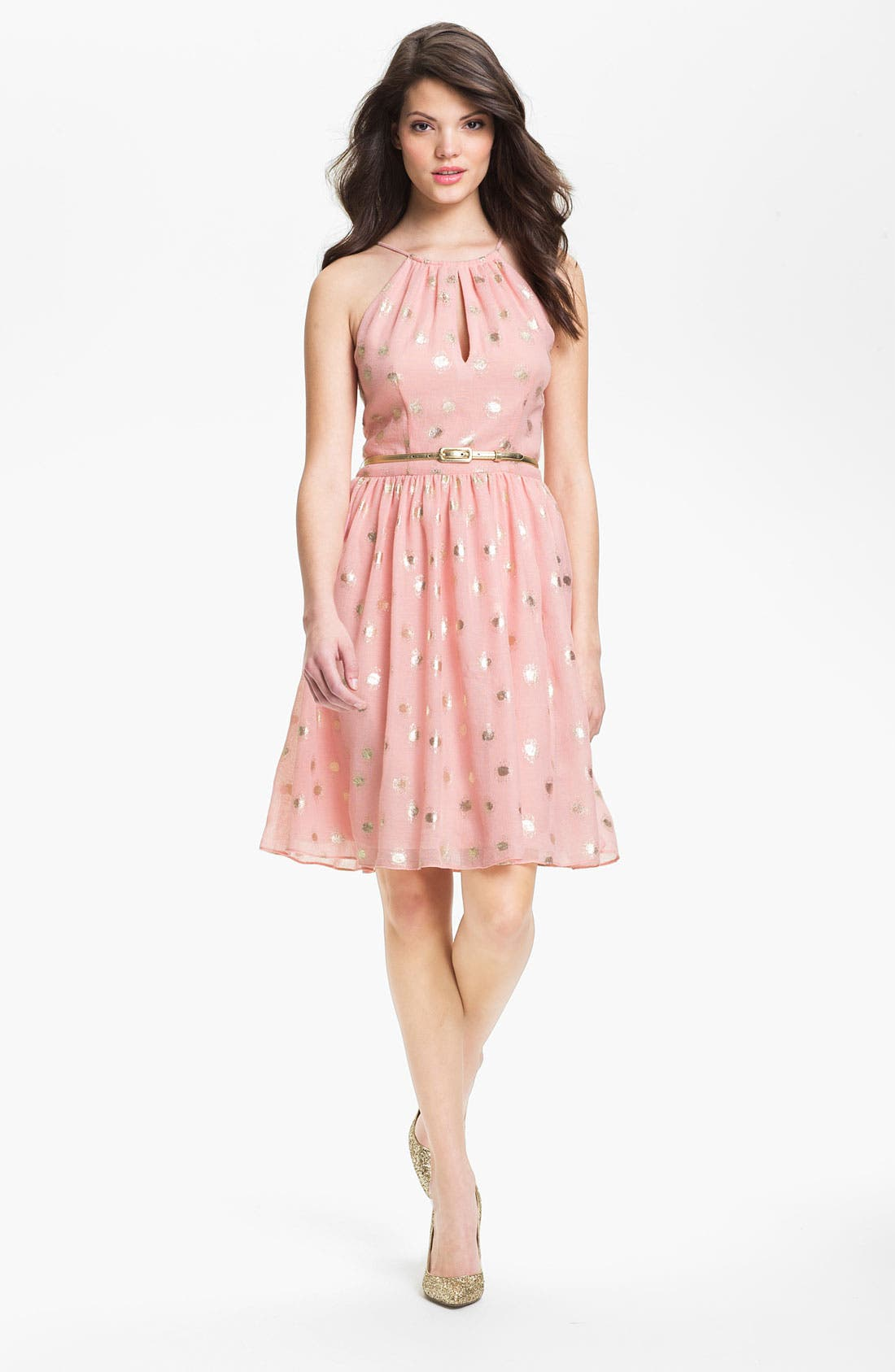 Alternate Image 1 Selected - Maggy London Metallic Dot Fit & Flare Dress