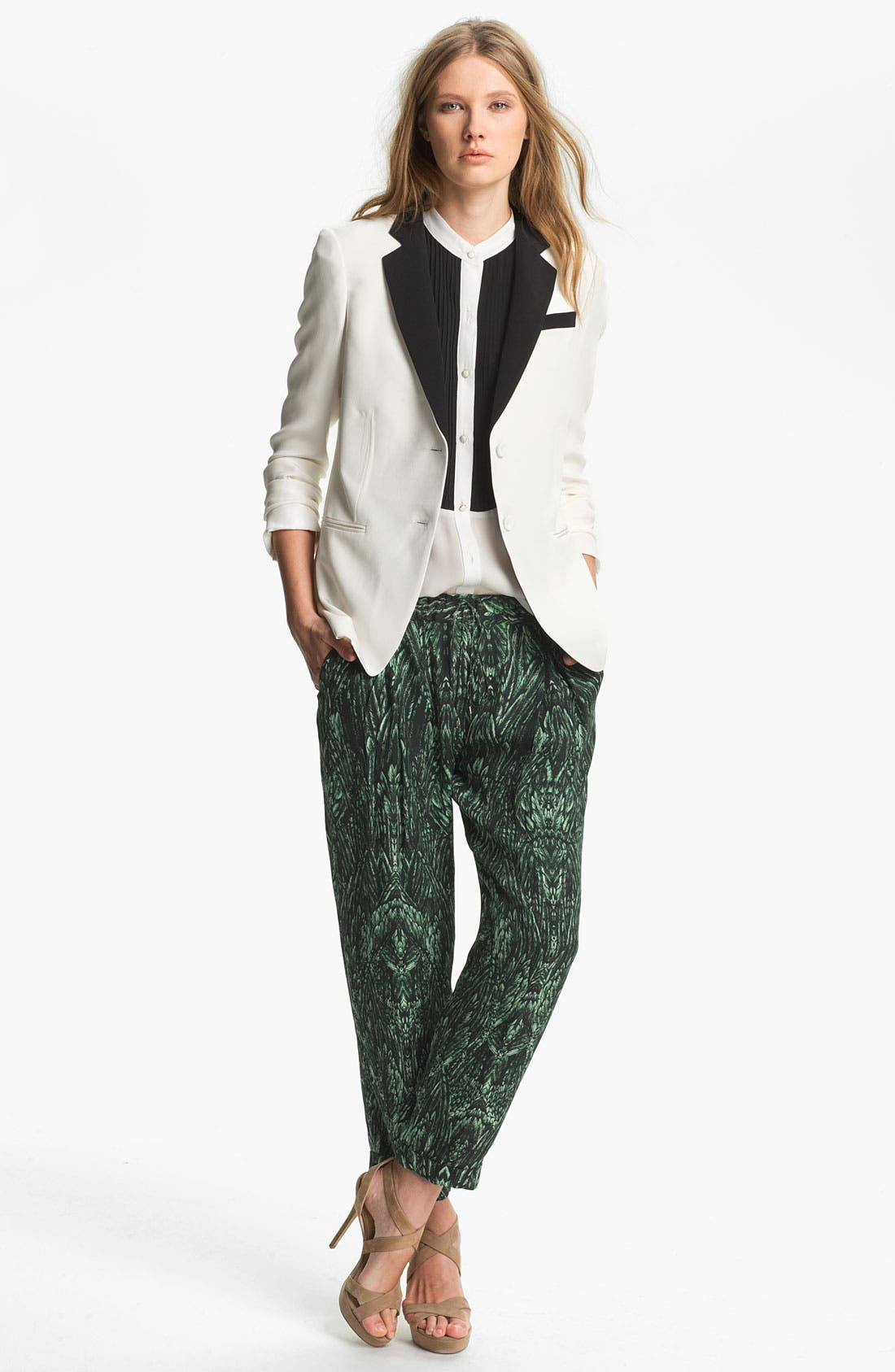 Main Image - Haute Hippie Contrast Lapel Silk Blazer