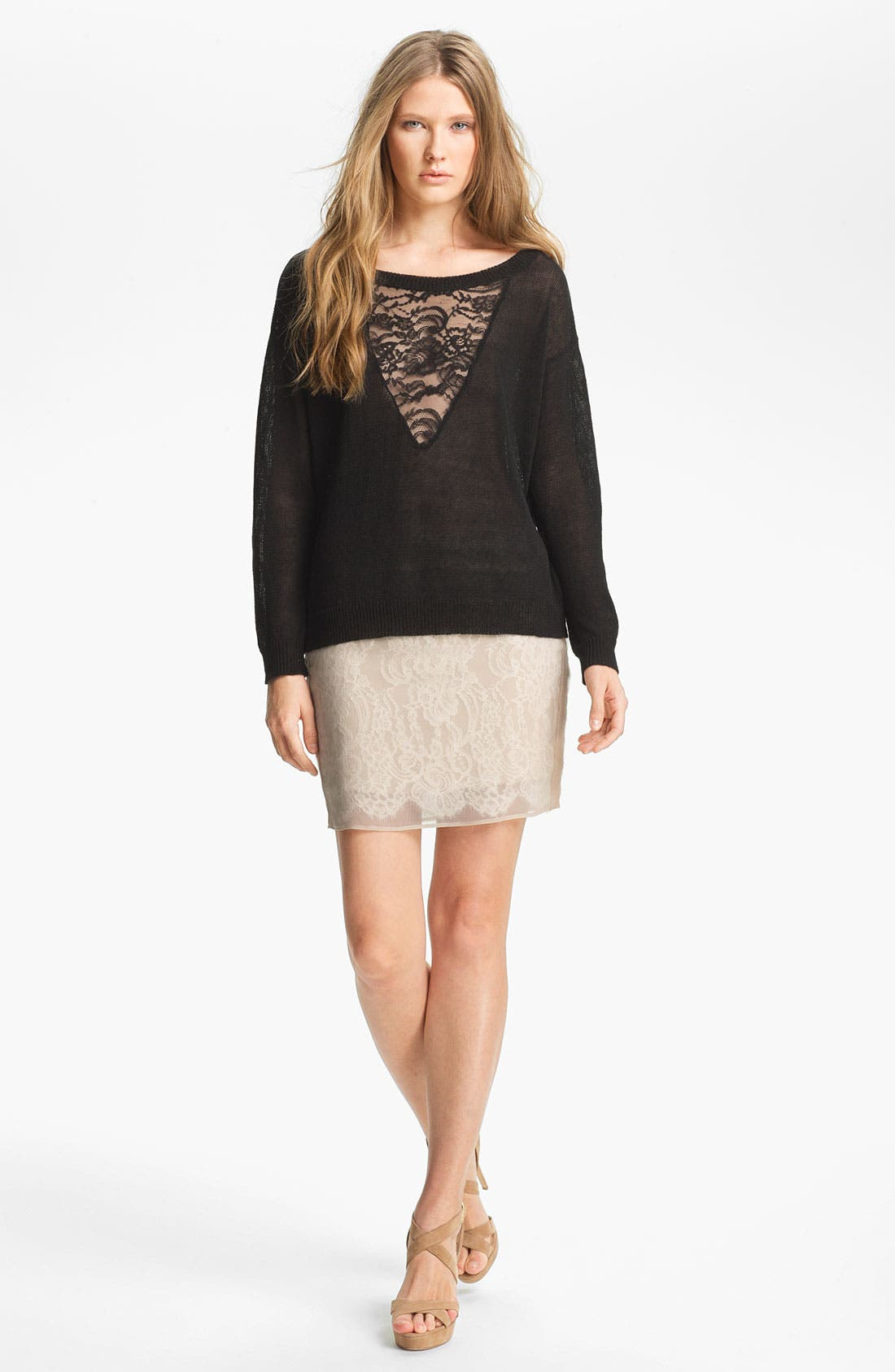 Alternate Image 2  - Haute Hippie Lace Inset Sweater