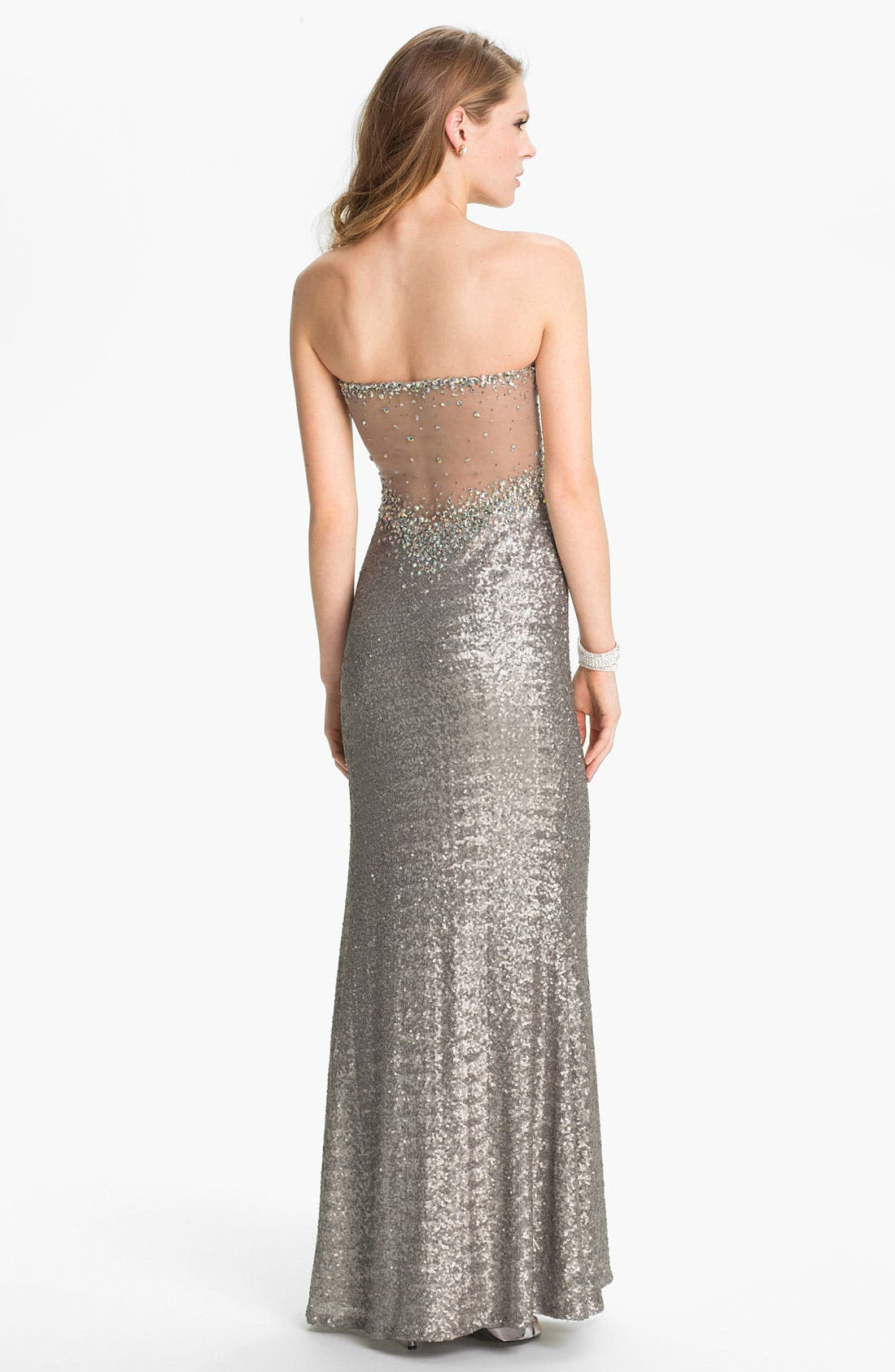 Alternate Image 2  - La Femme Metallic Sweetheart Gown
