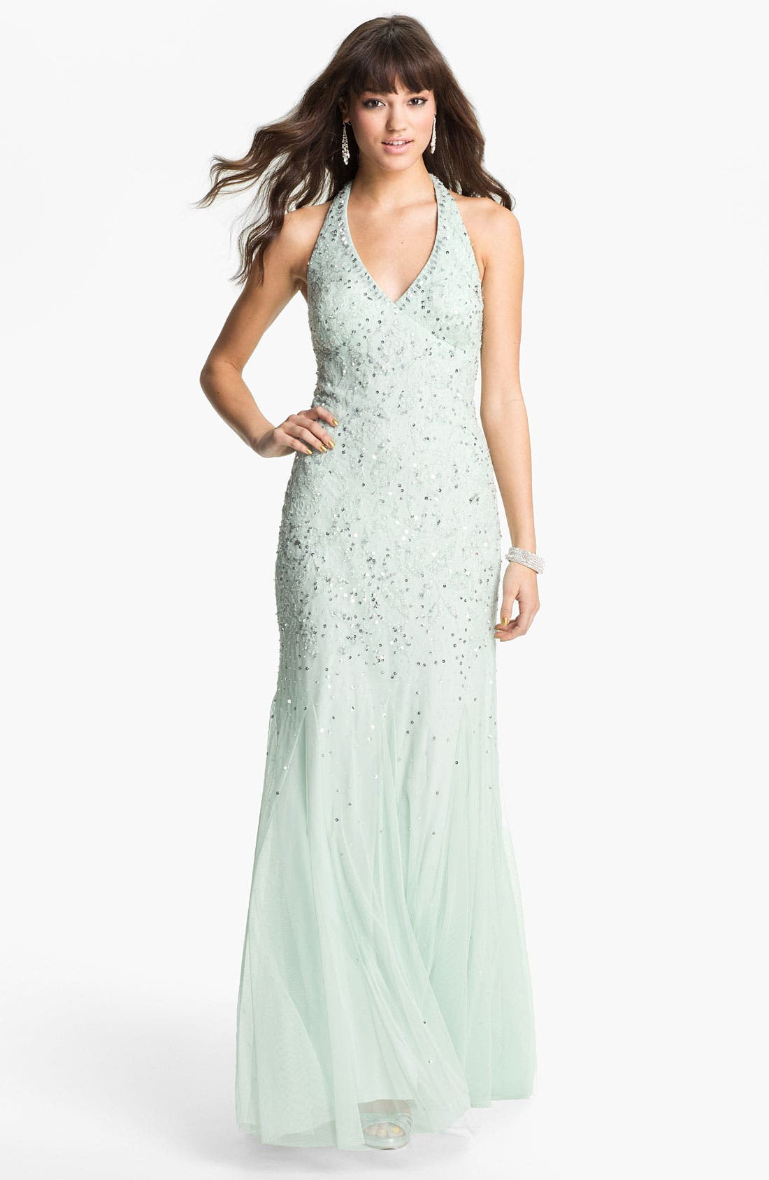Alternate Image 1 Selected - Adrianna Papell Beaded Mesh Halter Gown