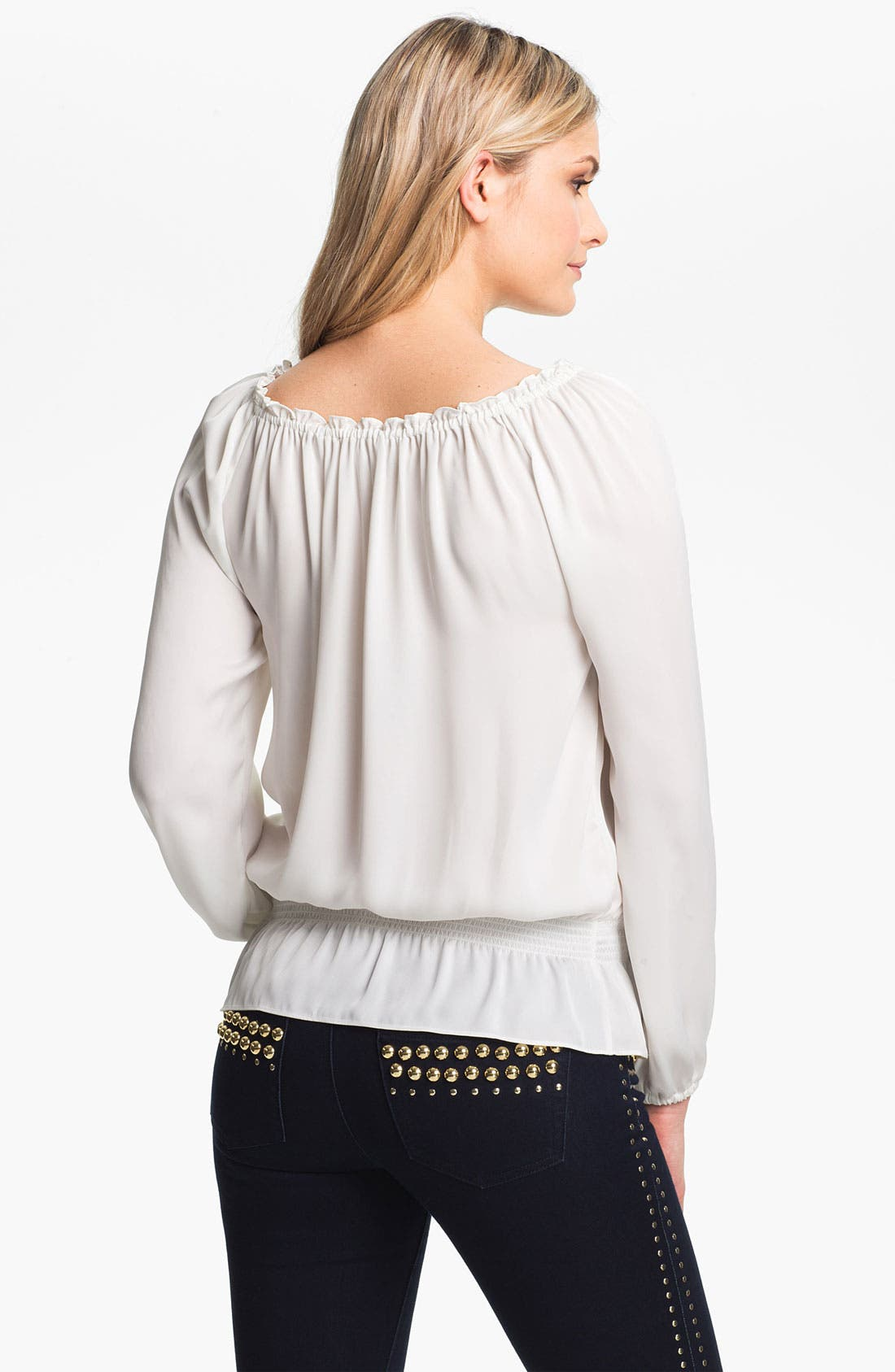 Alternate Image 2  - MICHAEL Michael Kors Smocked Waist Peasant Blouse (Regular & Petite)