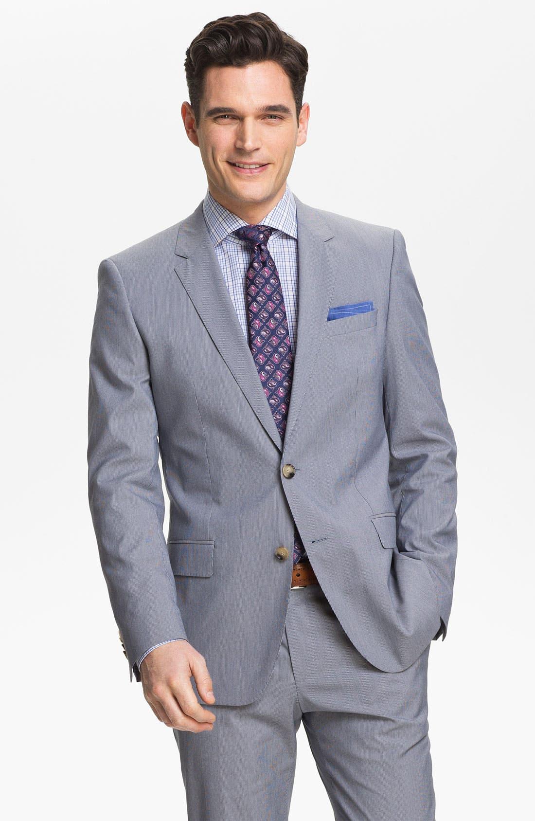 Alternate Image 1 Selected - BOSS Black 'Huge/Genius' Trim Fit Cotton Blend Suit