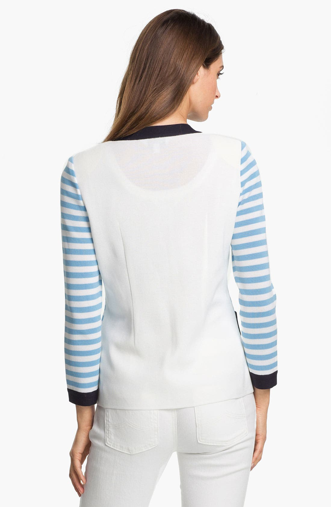Alternate Image 2  - Exclusively Misook 'Rebecca' Stripe Jacket (Petite) (Online Exclusive)