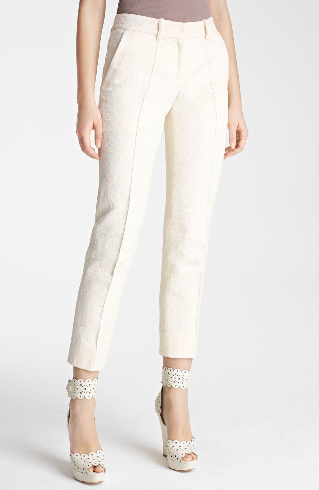 Main Image - Oscar de la Renta Skinny Textured Crop Pants