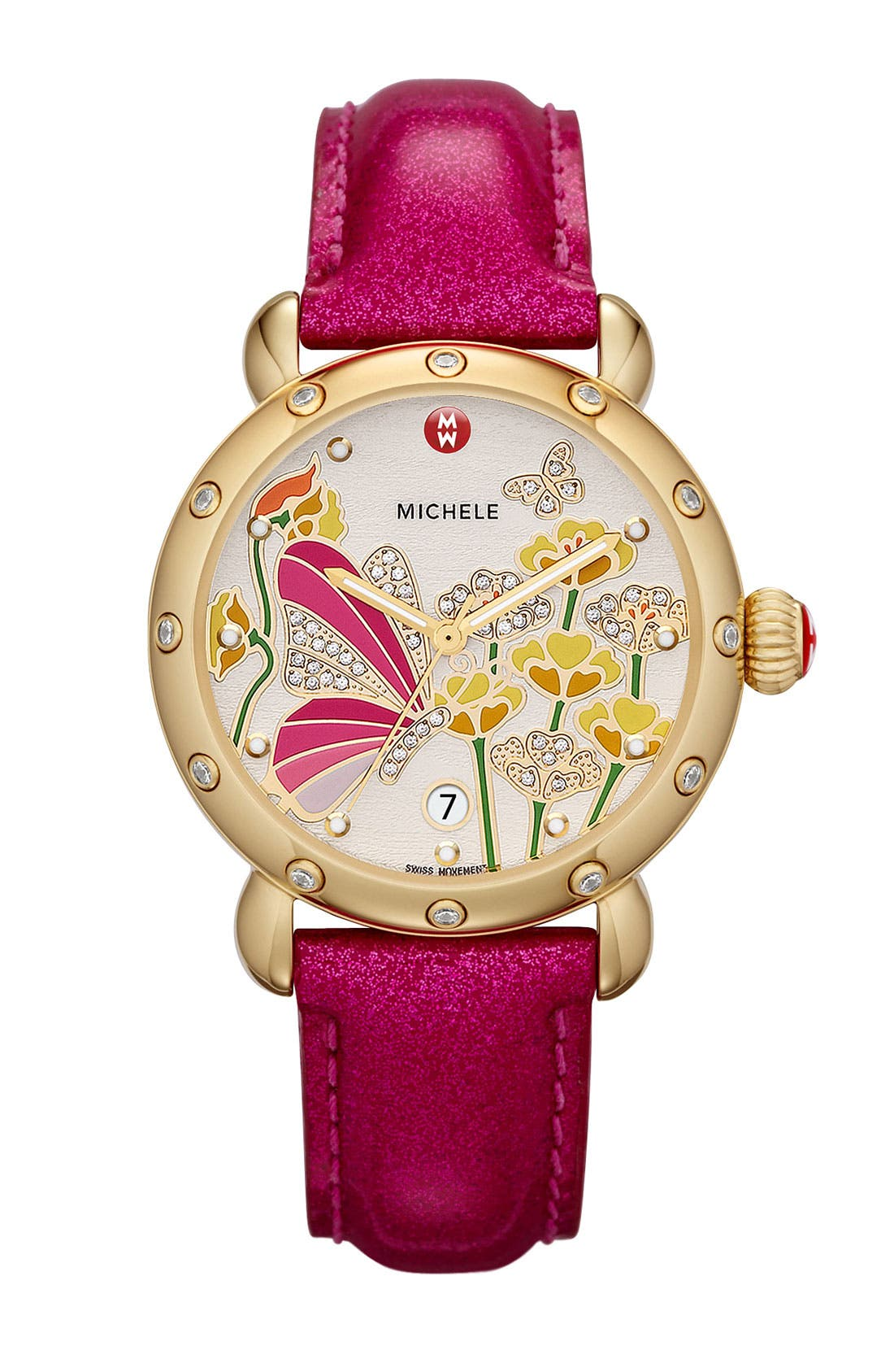 Alternate Image 2  - MICHELE 'Garden Party - Butterfly' Diamond Watch Case