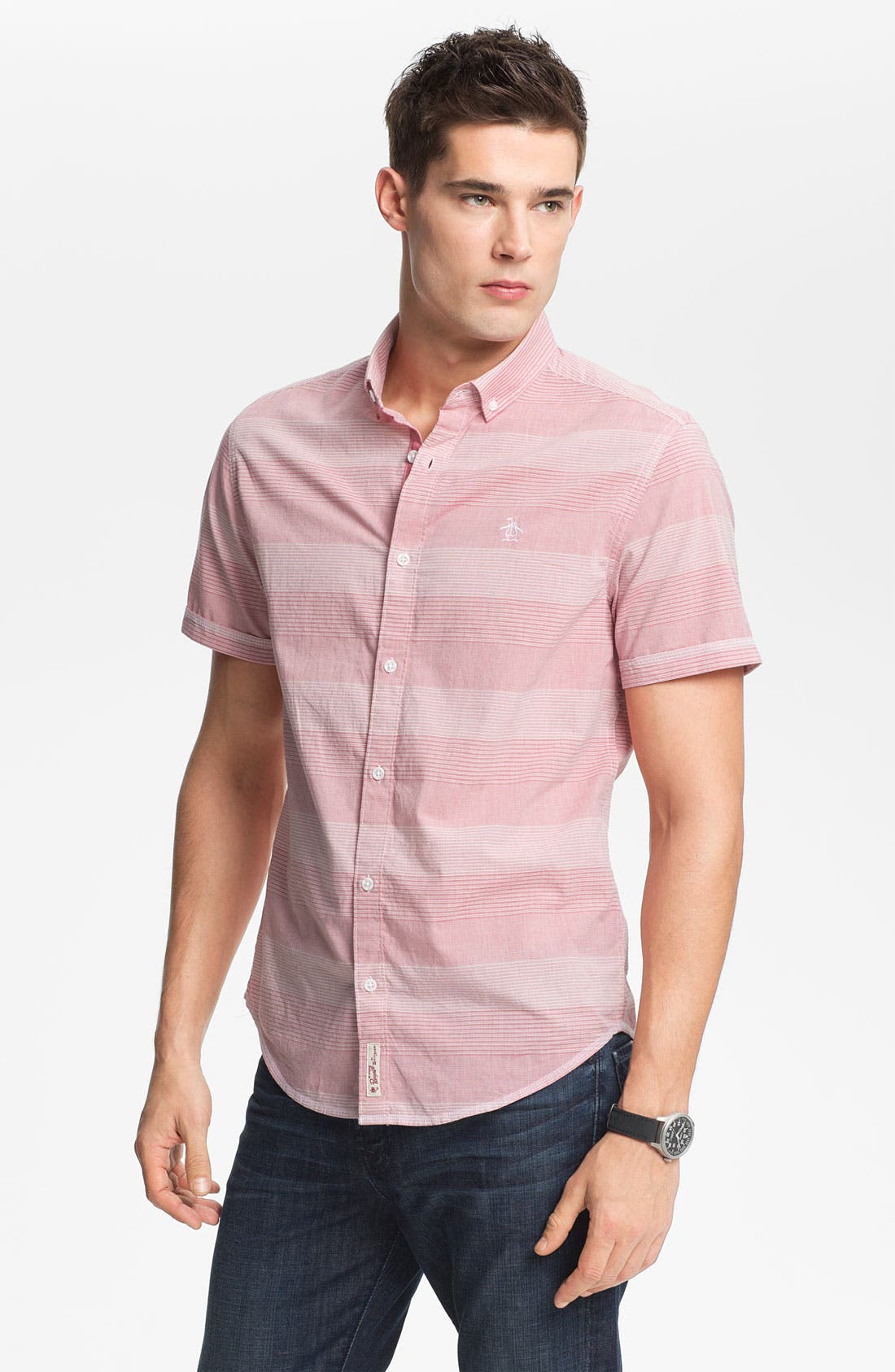 Main Image - Original Penguin Classic Fit Stripe Woven Shirt