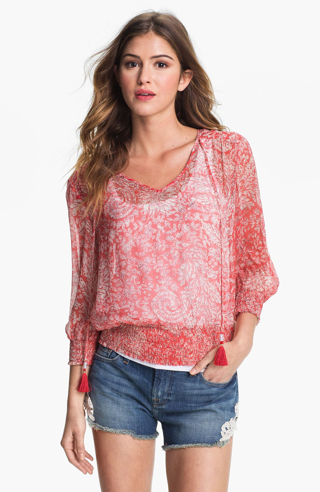 Main Image - Lucky Brand 'Palisades - Knotted Flowers' Top (Online Exclusive)
