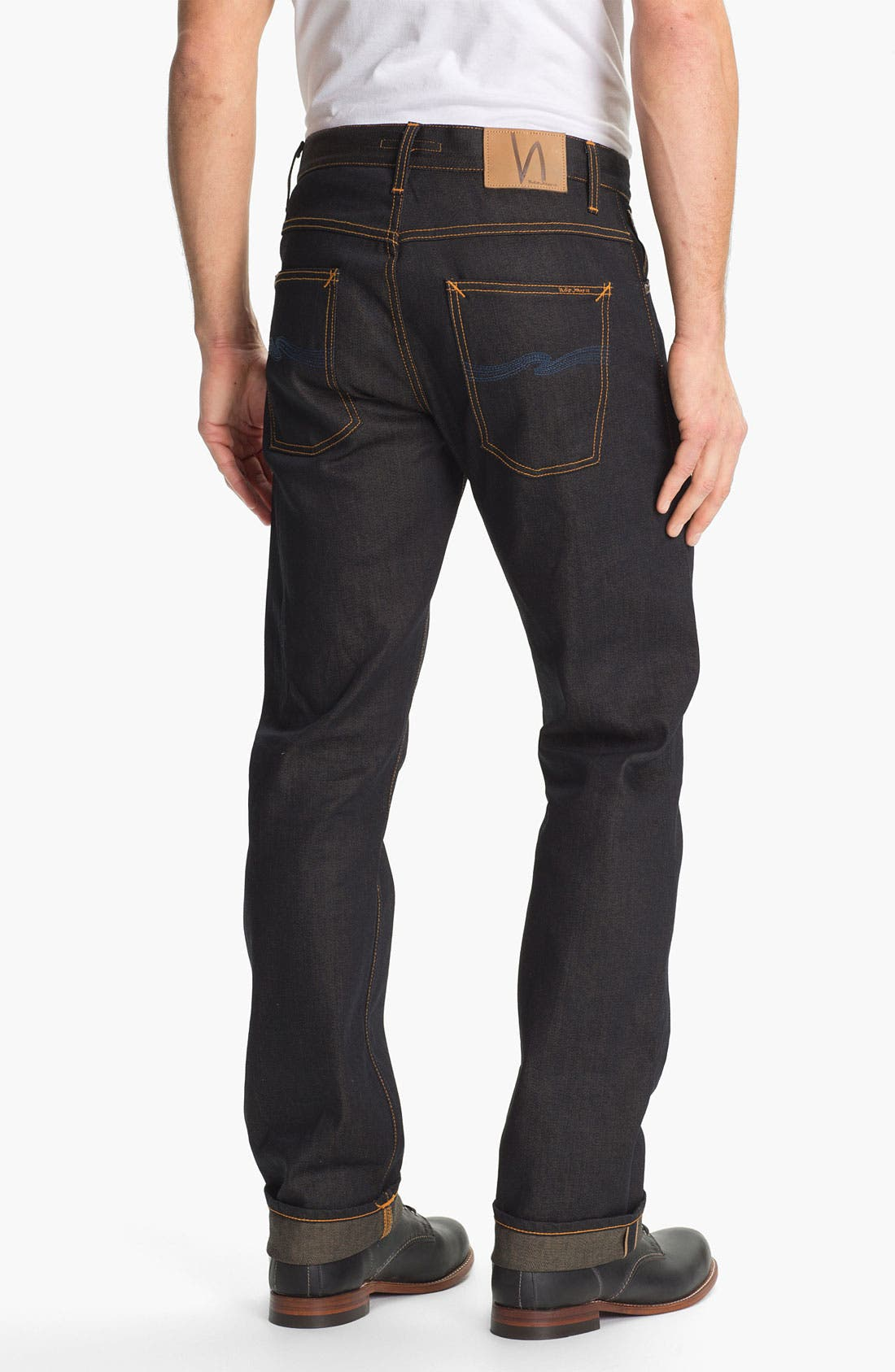 Alternate Image 1 Selected - Nudie 'Average Joe' Straight Leg Jeans (Organic Dry Brown Selvedge)