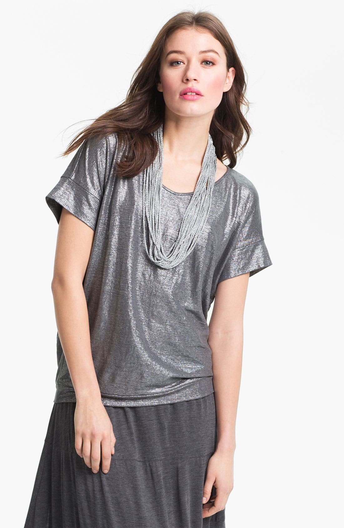 Main Image - Eileen Fisher Metallic Knit Necklace Scarf (Online Exclusive)