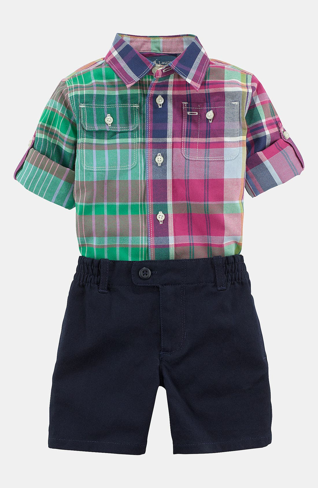 Alternate Image 2  - Ralph Lauren Plaid Shirt & Shorts (Baby)