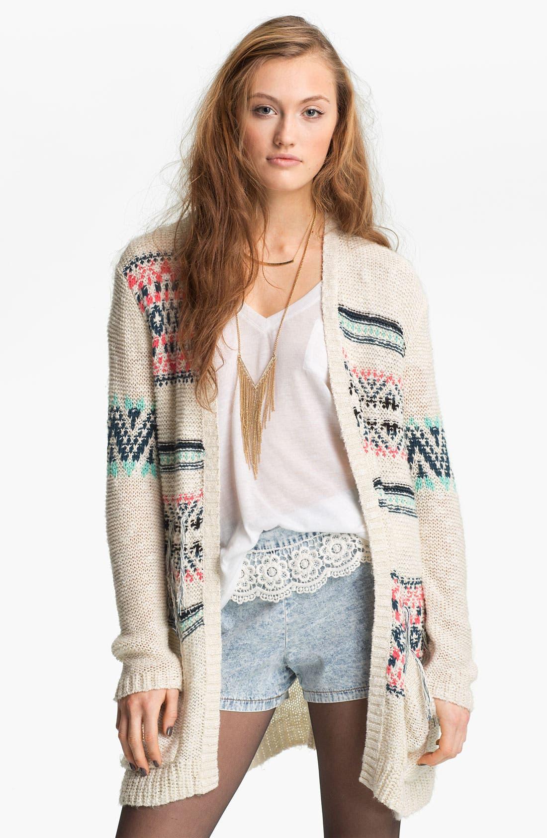 Alternate Image 3  - Mimi Chica Crochet Trim Chambray Shorts (Juniors)