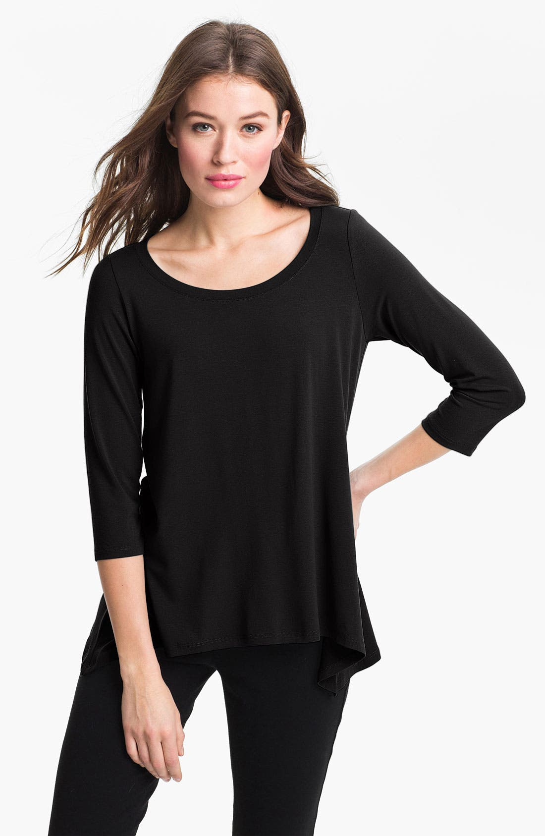 Main Image - Eileen Fisher Scoop Neck Three Quarter Sleeve Top (Regular & Petite) (Online Exclusive)