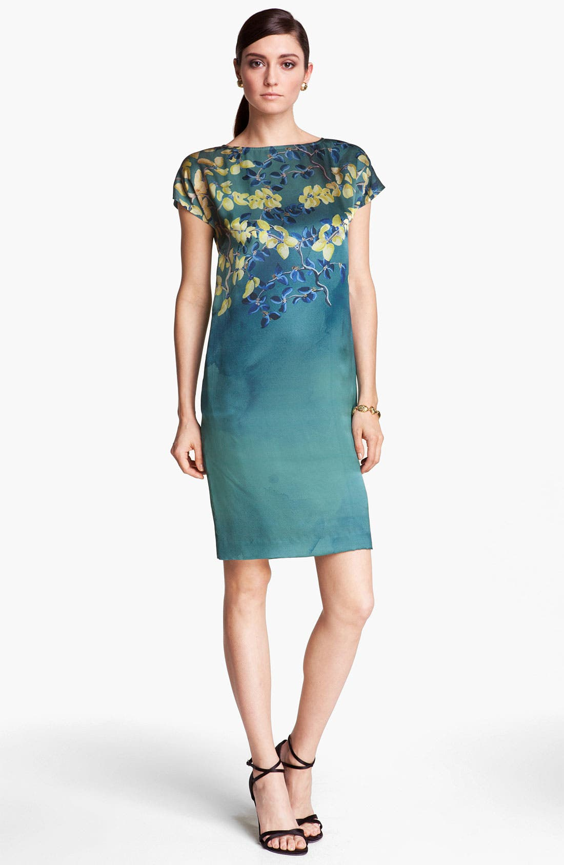 Main Image - St. John Collection Floral Print Silk Charmeuse Dress