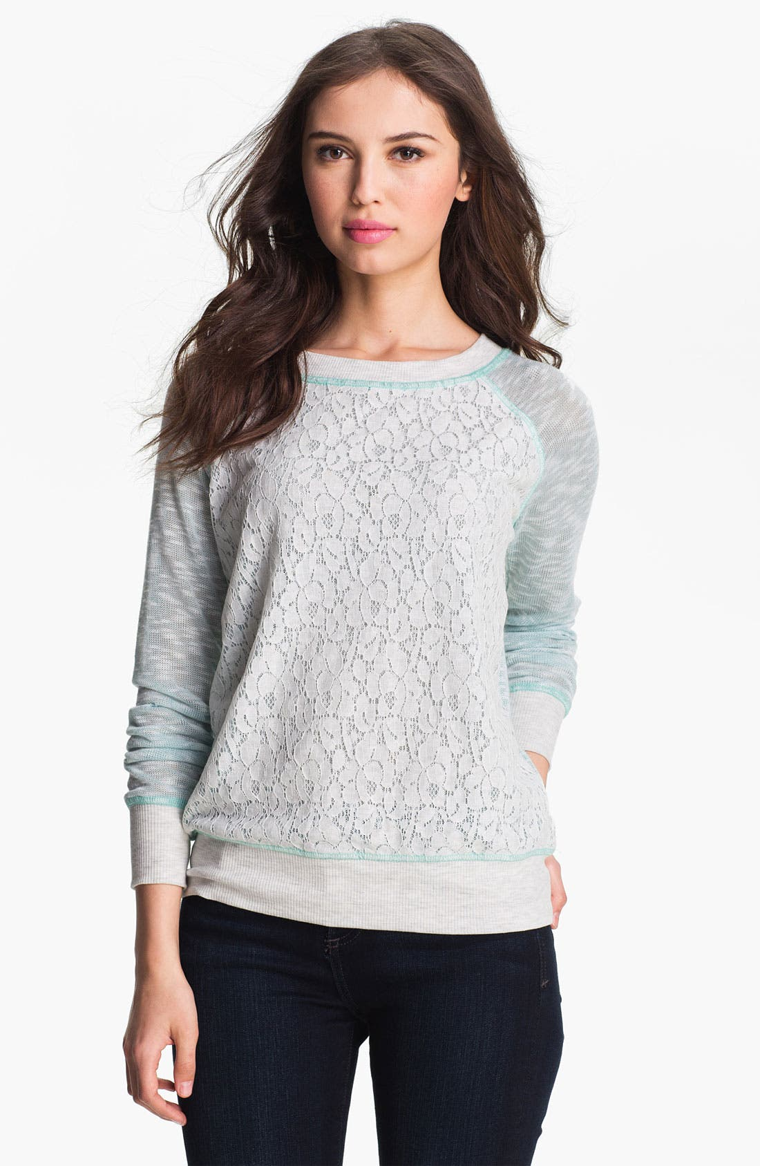 Alternate Image 1 Selected - Olivia Moon Lace Front Sweatshirt