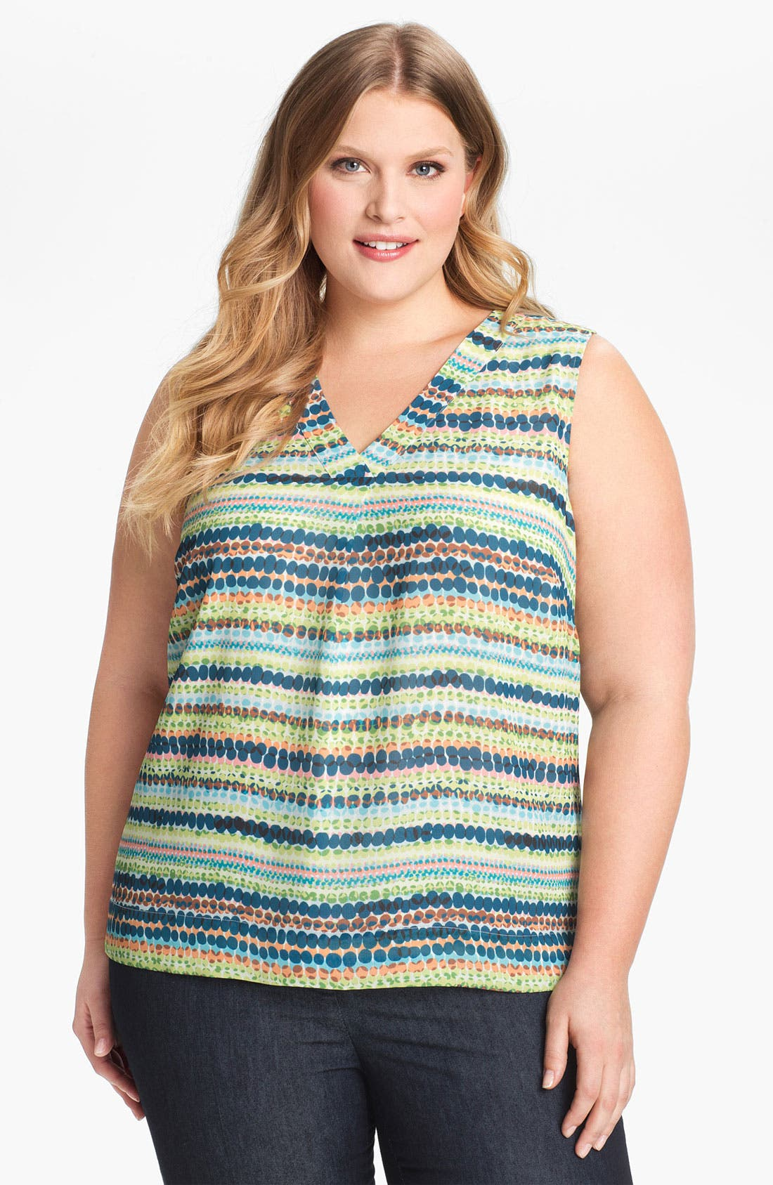 Alternate Image 1 Selected - Sejour Print Sleeveless Top (Plus Size)
