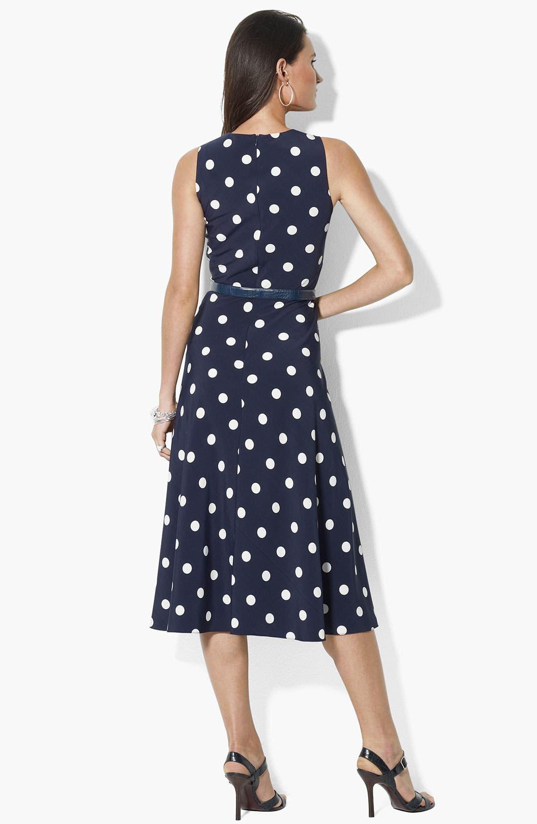 Alternate Image 2  - Lauren Ralph Lauren Polka Dot Fit & Flare Dress
