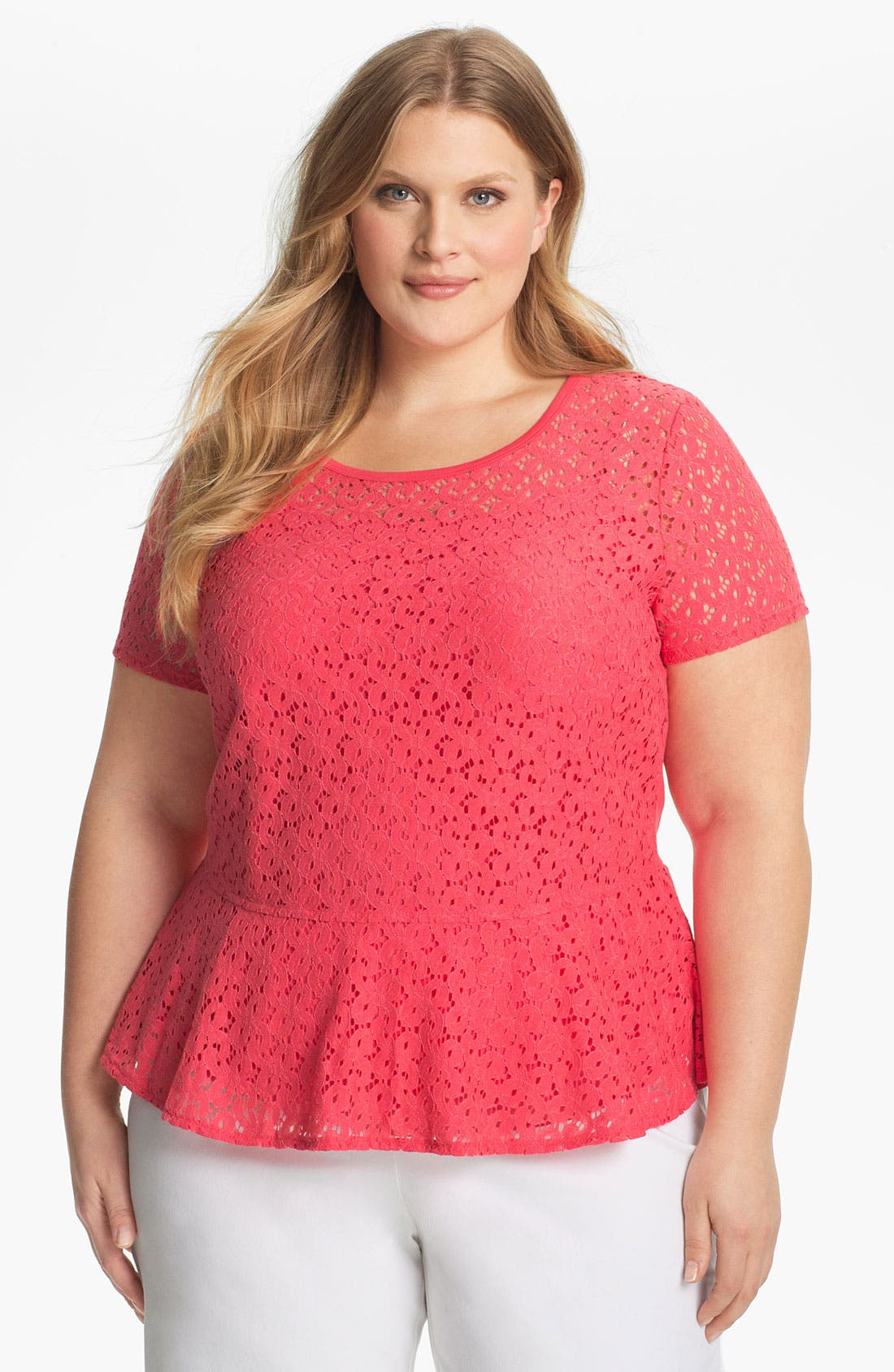 Alternate Image 1 Selected - DKNYC Lace Peplum Top (Plus)