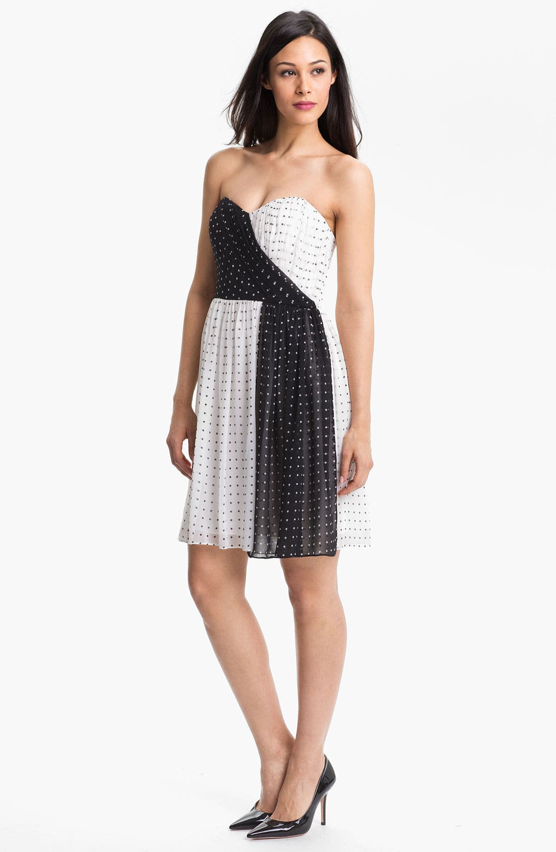 Alternate Image 1 Selected - Donna Morgan Colorblock Polka Dot Dress