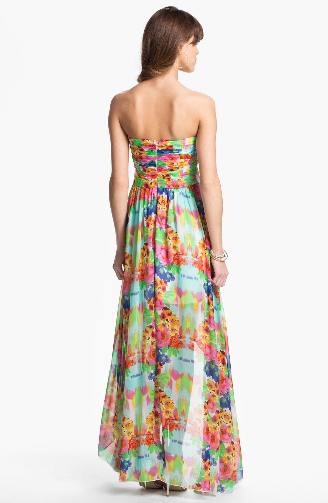 Alternate Image 2  - As U Wish Floral Chiffon High/Low Gown (Juniors)