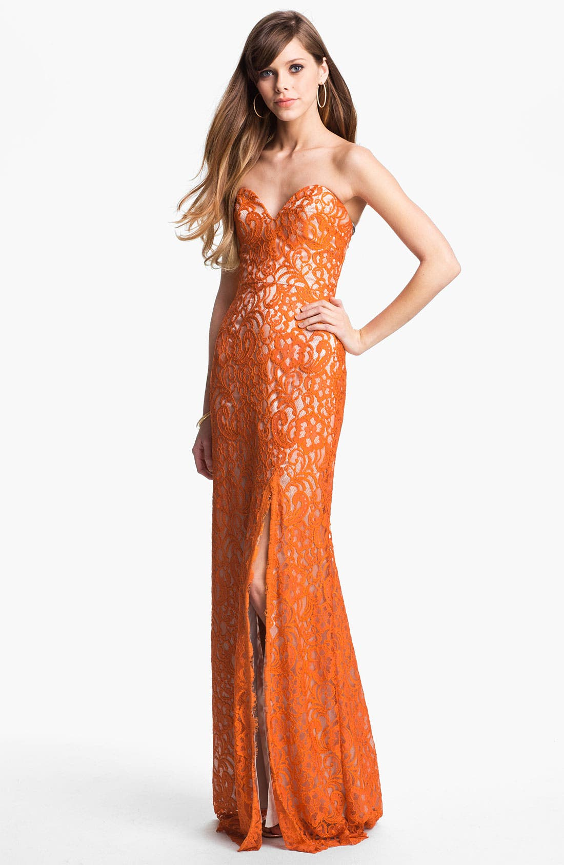 Alternate Image 1 Selected - Dalia MacPhee Strapless Lace Gown