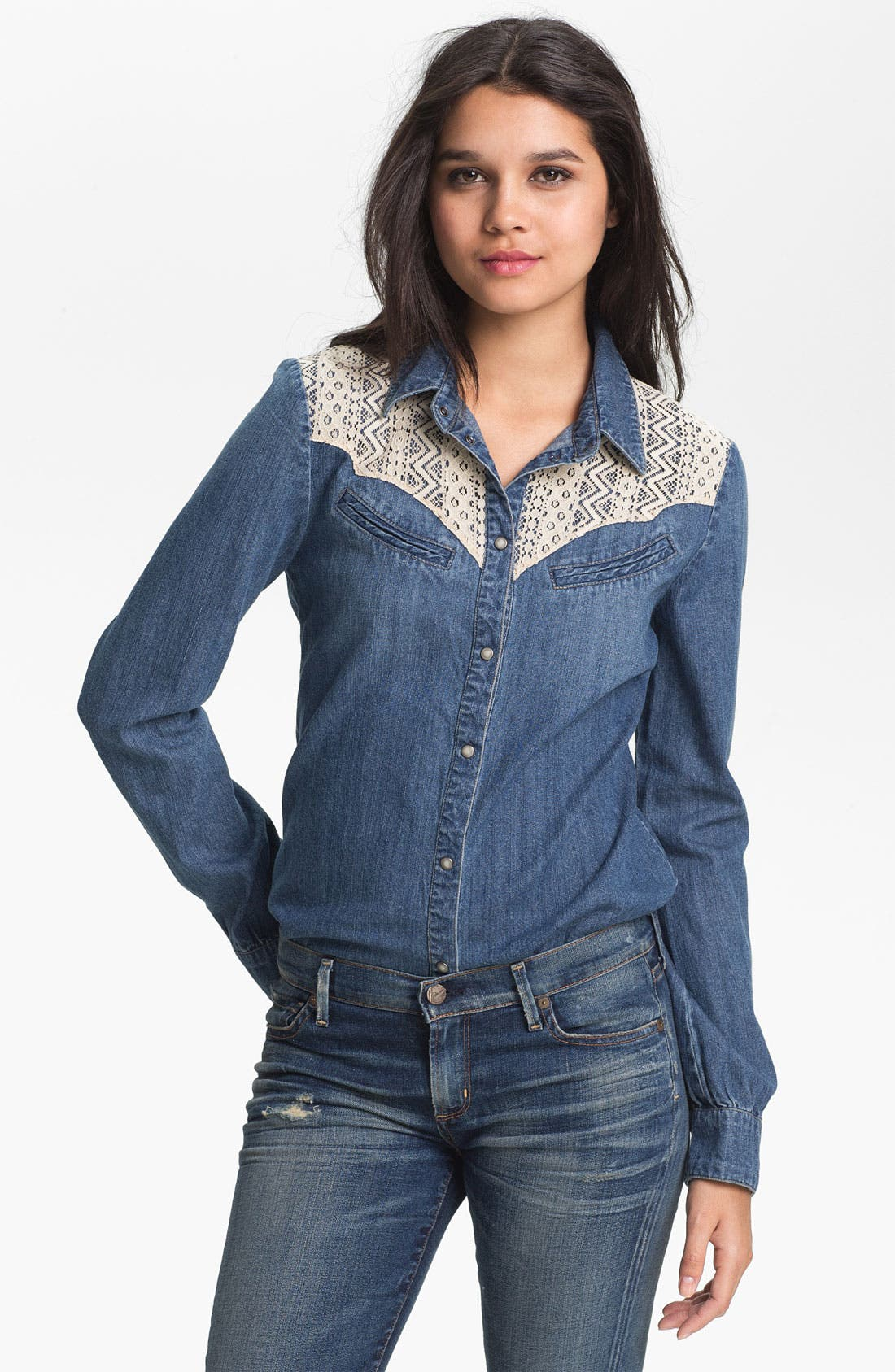 Alternate Image 1 Selected - Sanctuary Lace Trim Denim Shirt