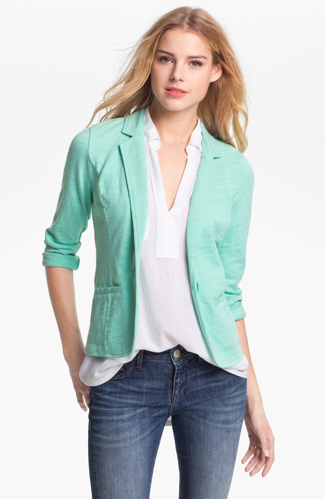 Alternate Image 1 Selected - Caslon® Roll Sleeve Knit Blazer (Petite)