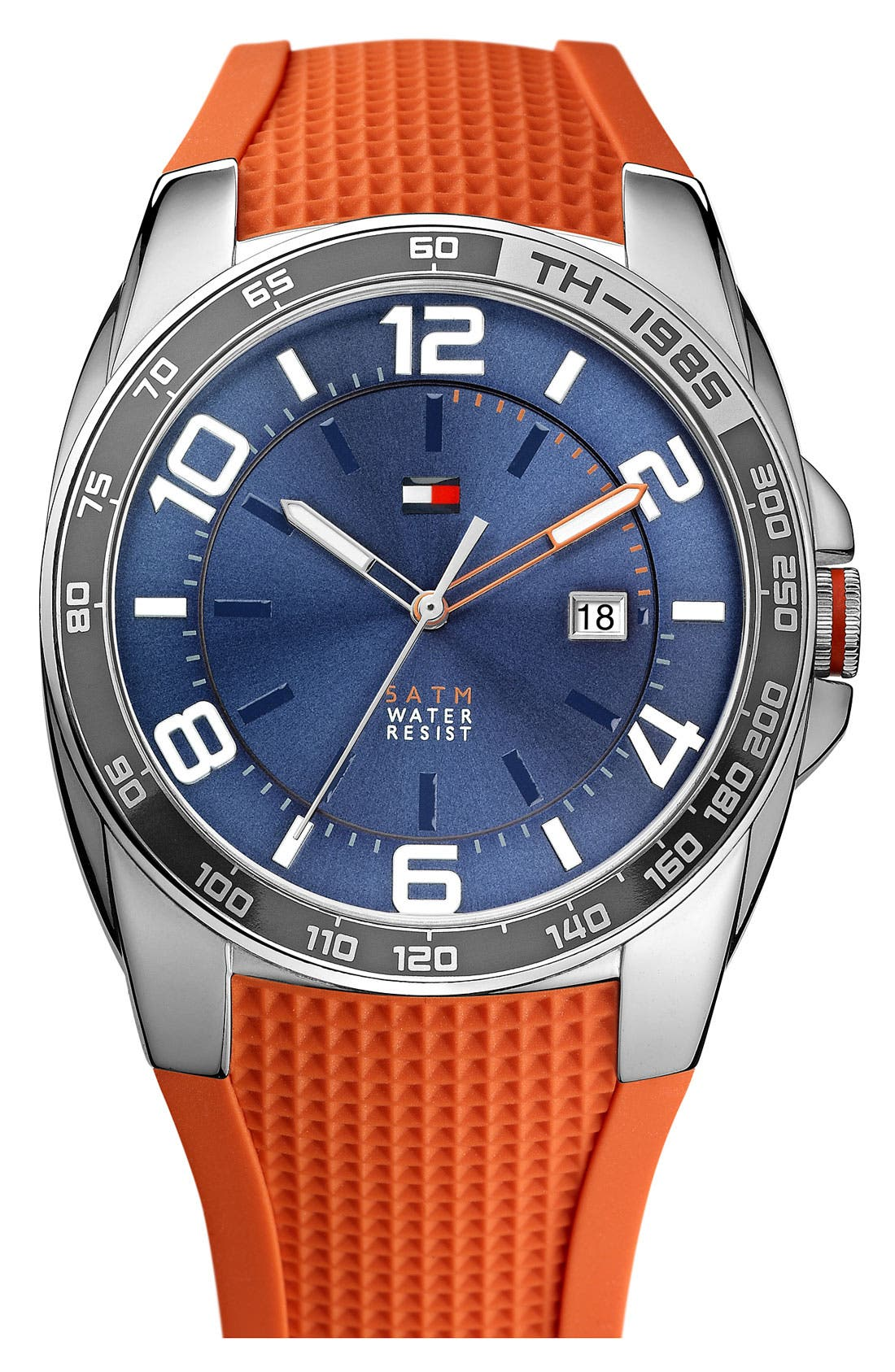 Alternate Image 1 Selected - Tommy Hilfiger Silicone Strap Watch, 44mm