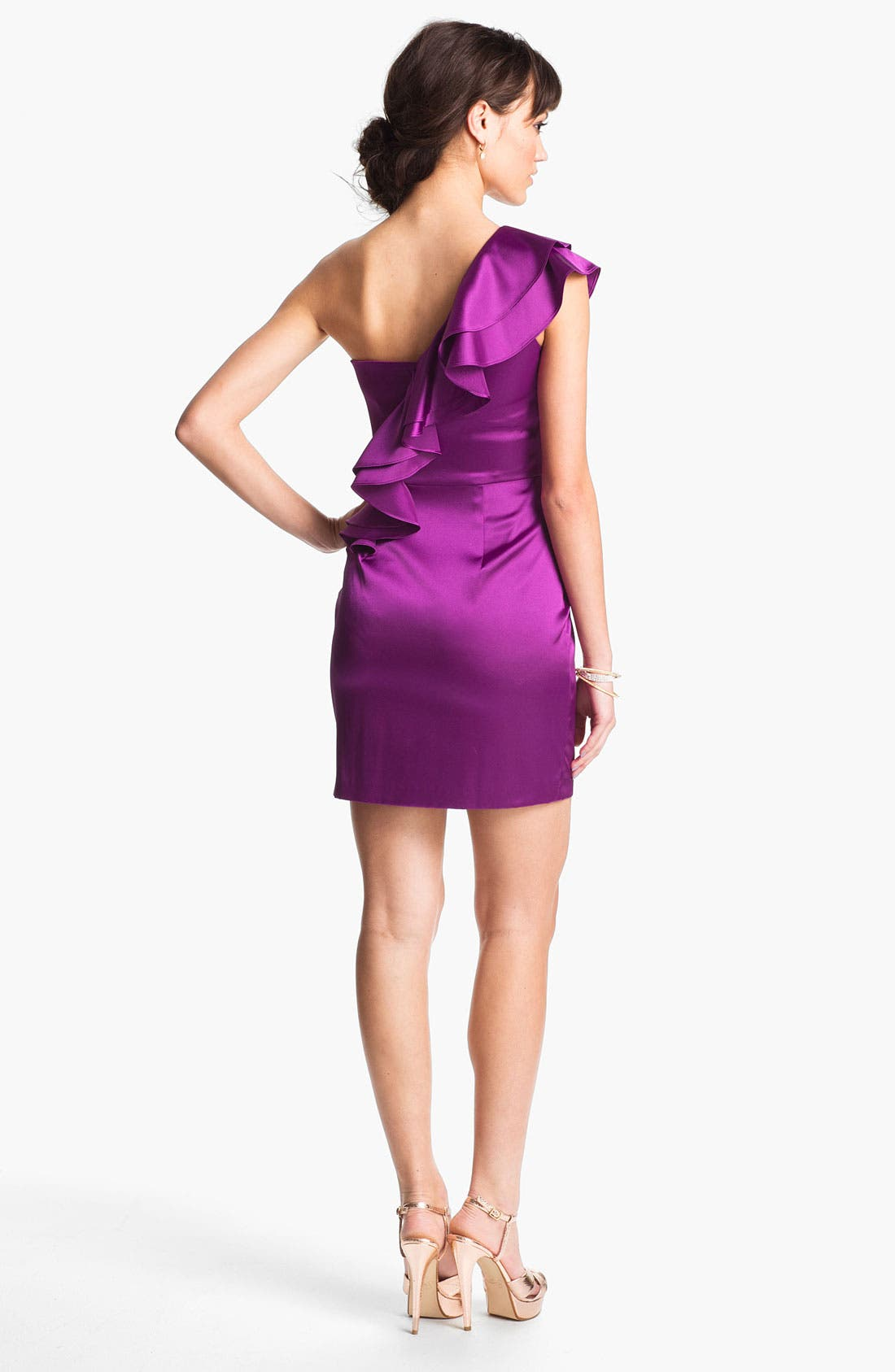 Alternate Image 2  - Hailey Logan One Shoulder Ruffle Satin Dress (Juniors) (Online Only)