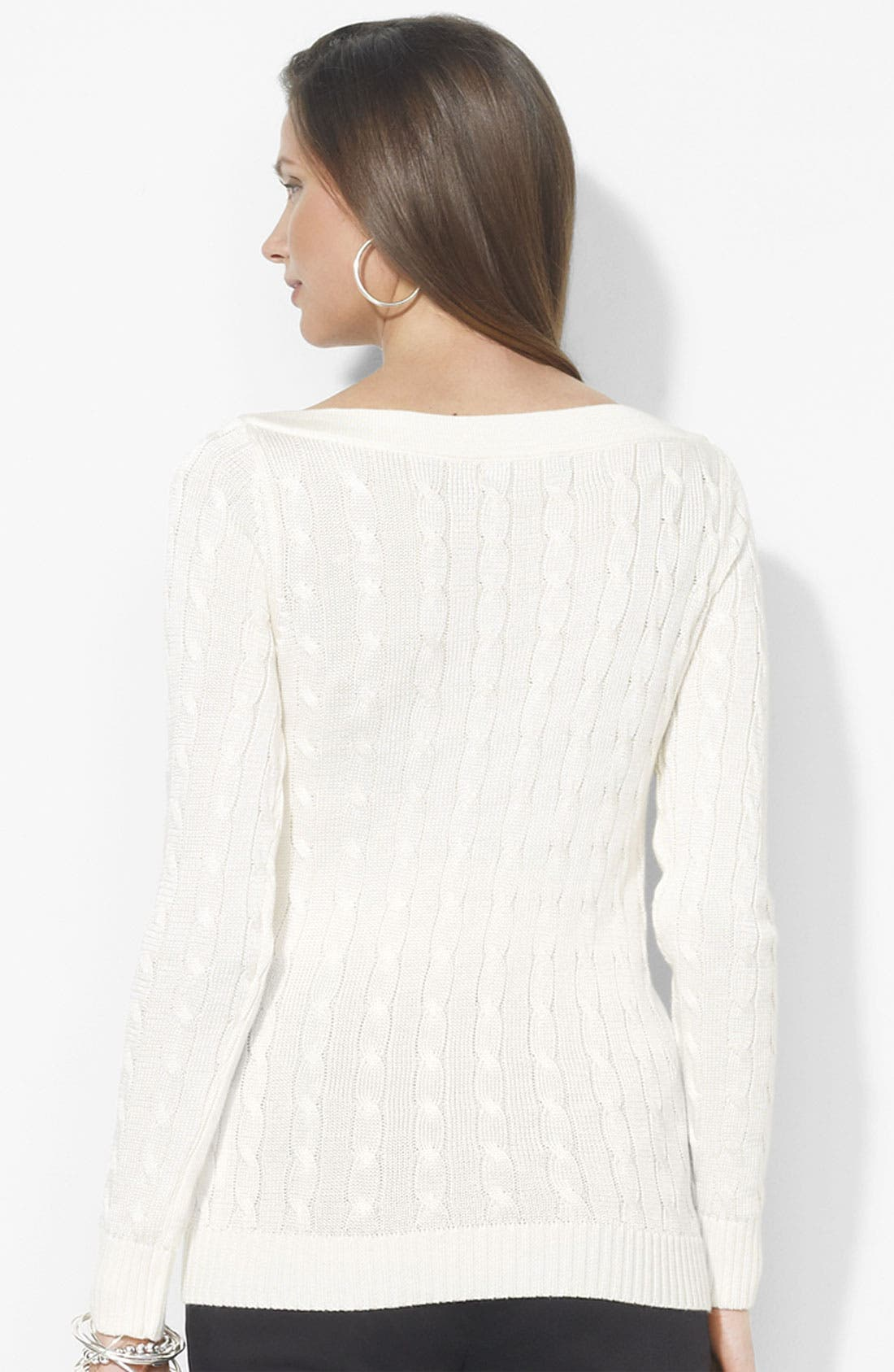Alternate Image 2  - Lauren Ralph Lauren Bateau Neck Cable Sweater